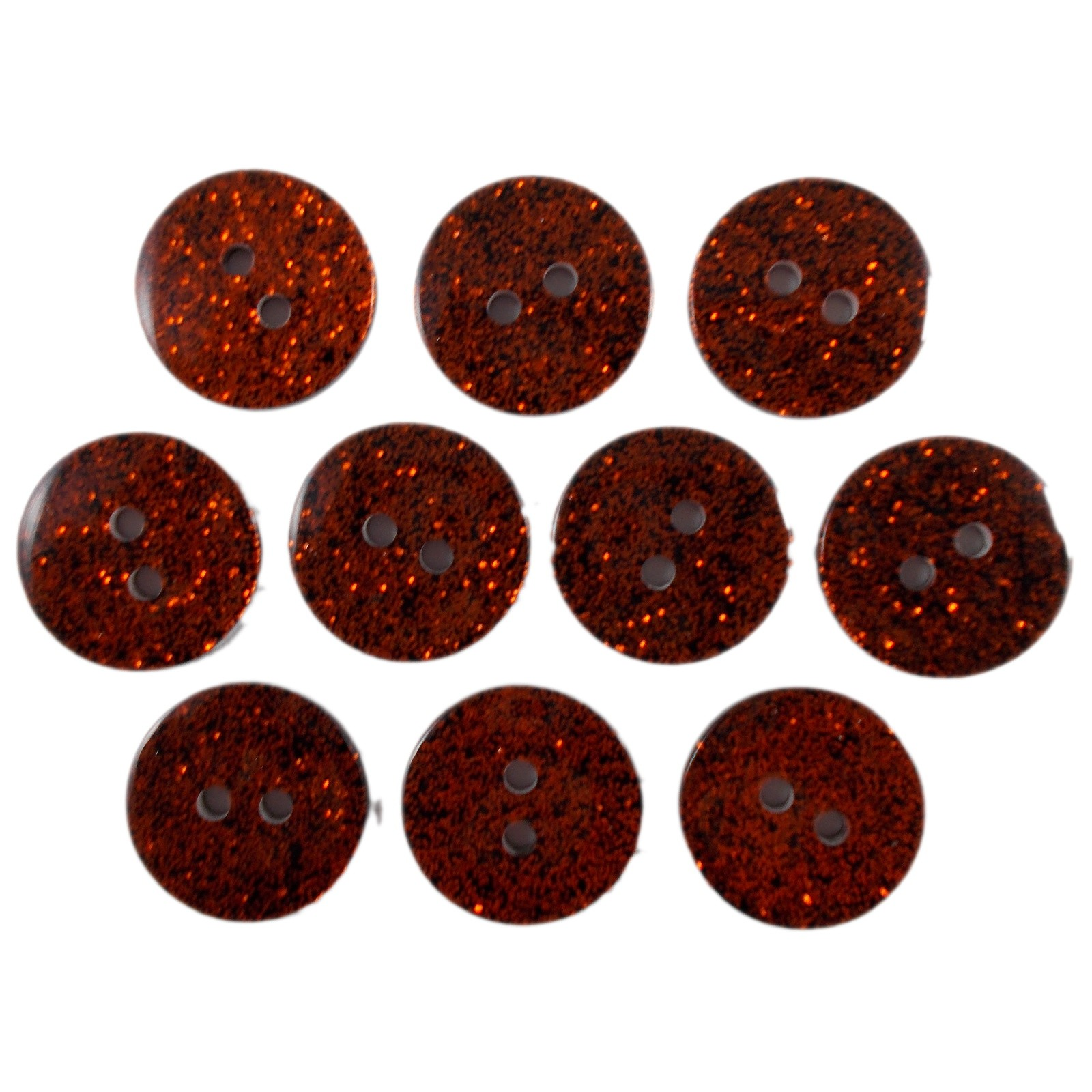 Colour Dark Glitter Buttons 17mm Orange Pack of 10