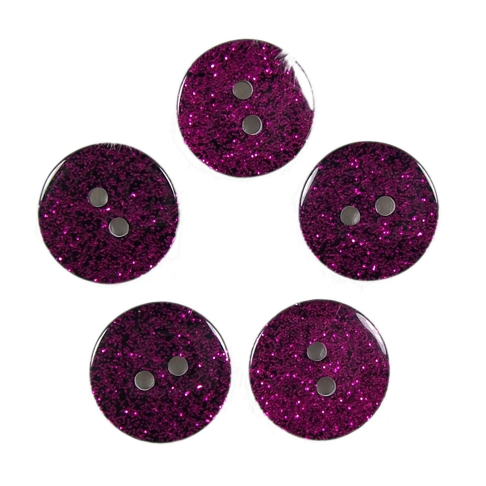 Colour Dark Glitter Buttons 12mm Pink Pack of 5