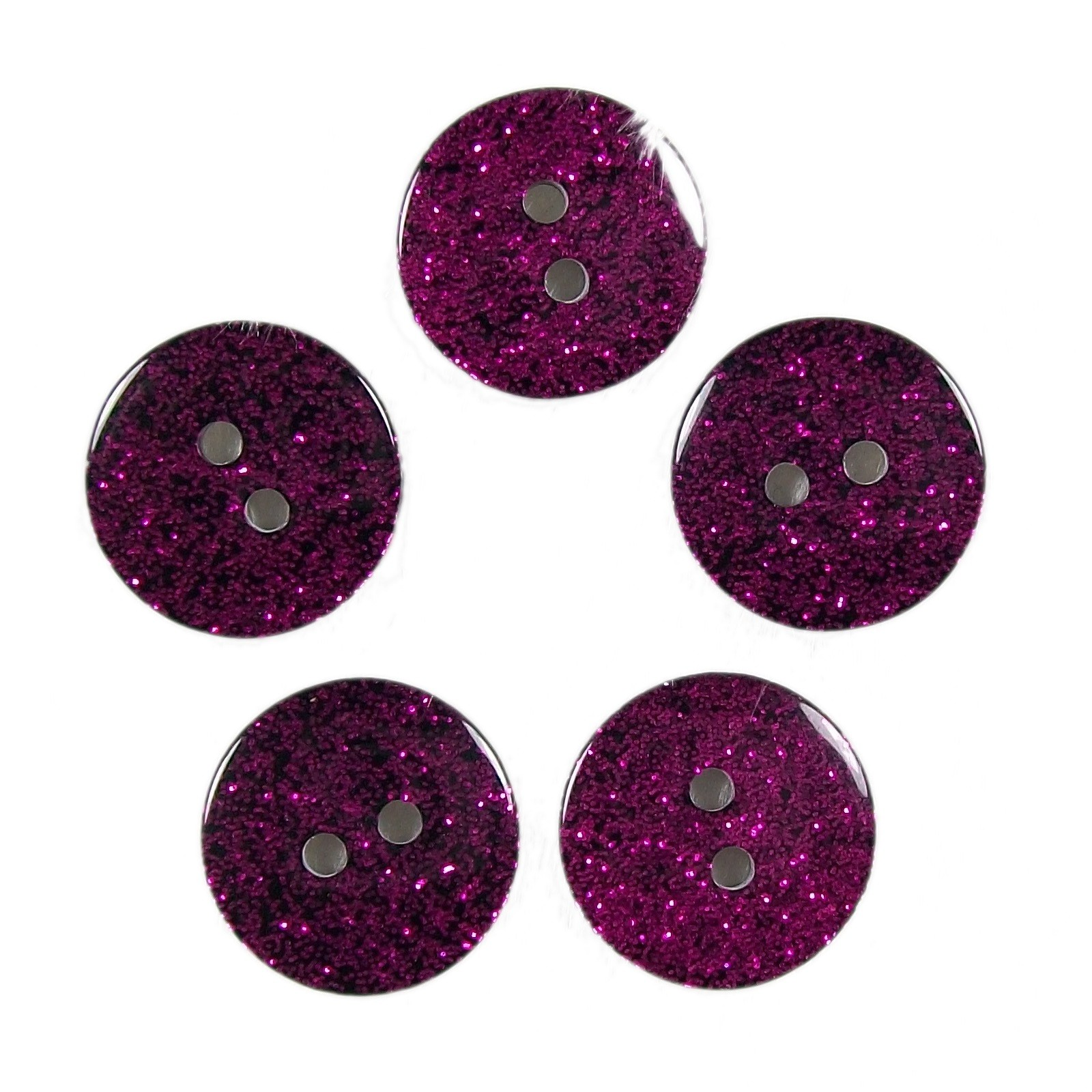Colour Dark Glitter Buttons 17mm Pink Pack of 5