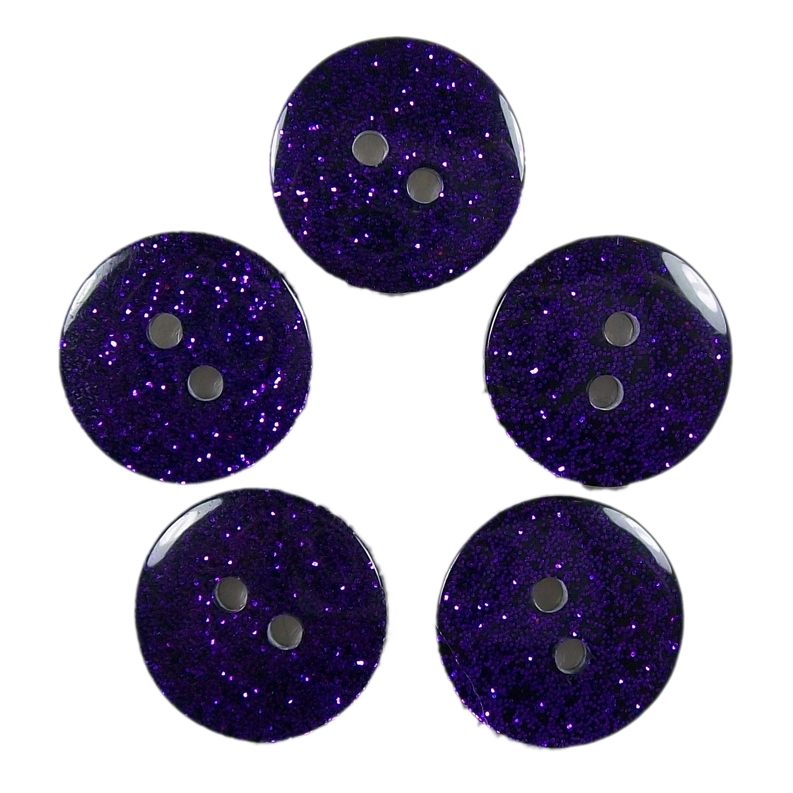 Colour Dark Glitter Buttons 17mm Purple Pack of 5