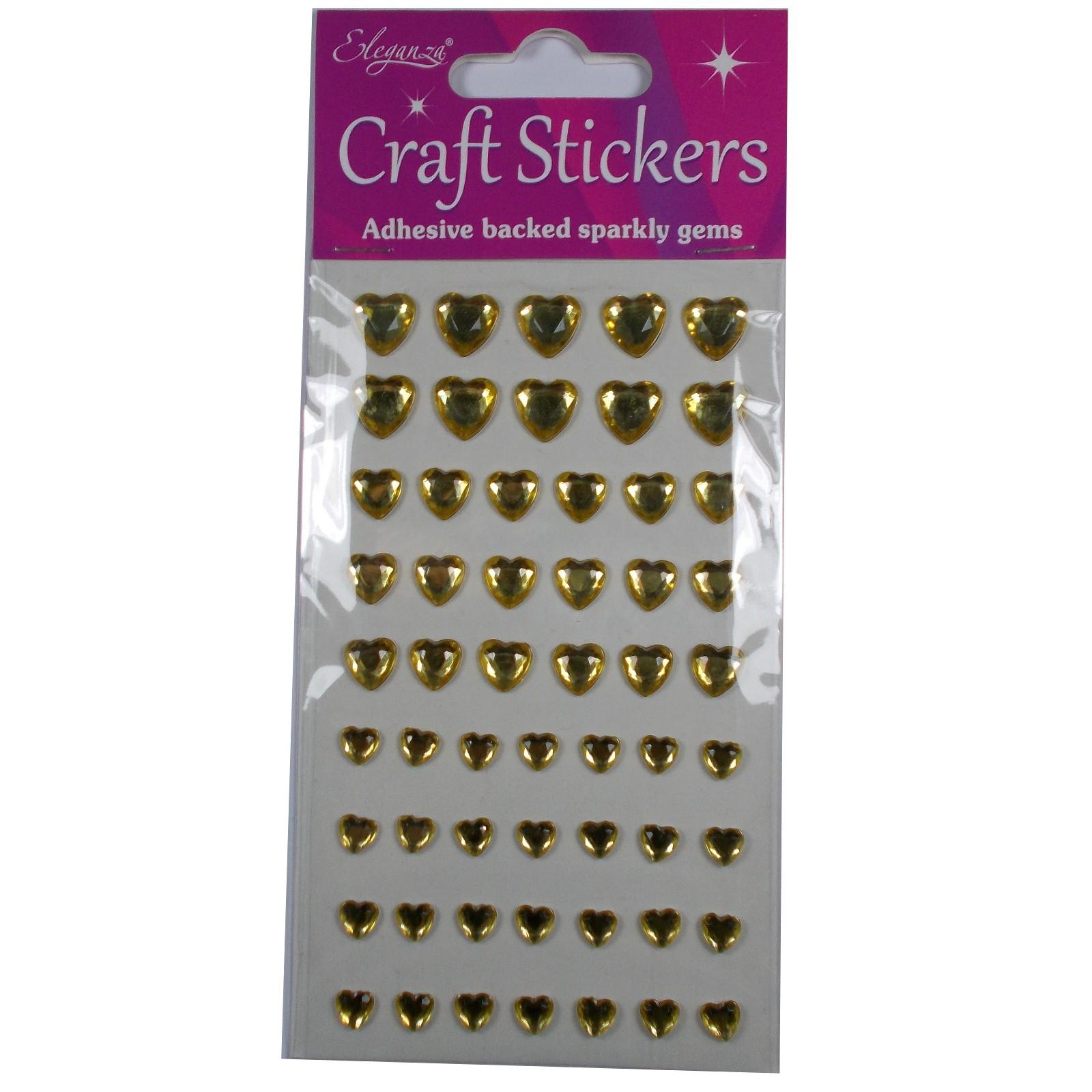 Craft Stickers 6mm - 10mm Heart Diamante Gold