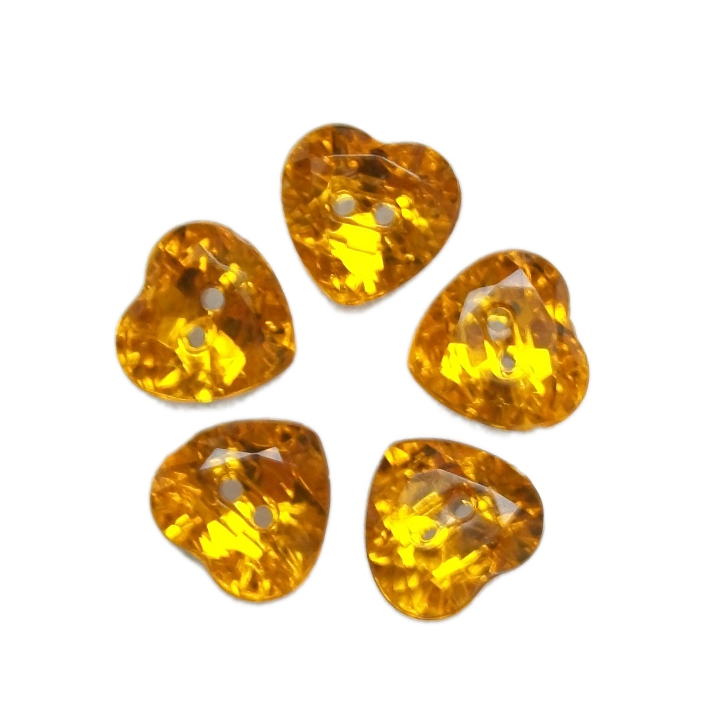 Acrylic Crystal Effect Heart Shape Buttons 12mm Amber Pack of 5