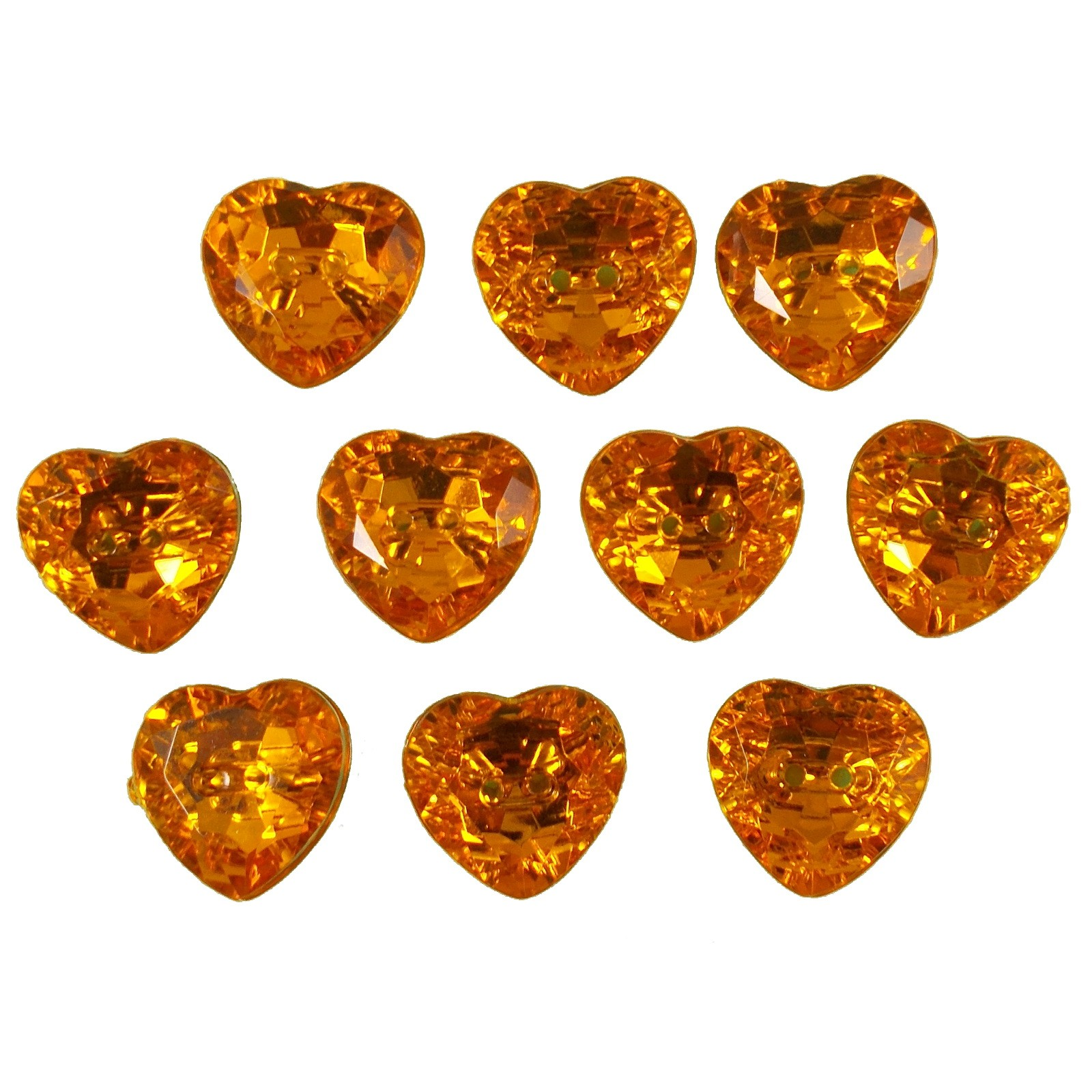 Acrylic Crystal Effect Heart Shape Buttons 12mm Amber Pack of 10