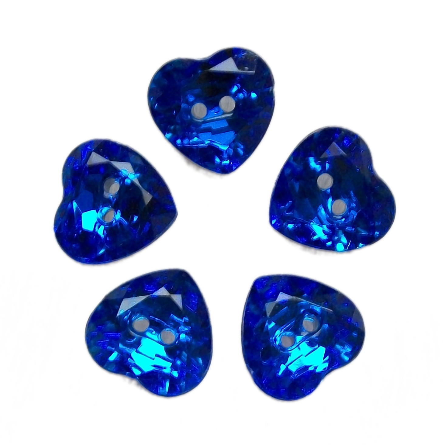 Acrylic Crystal Effect Heart Shape Buttons 12mm Blue Pack of 5