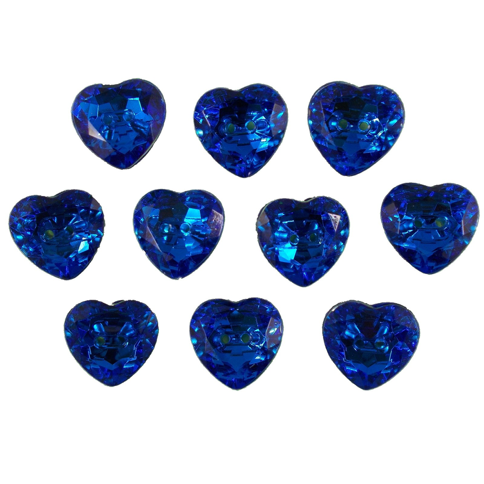 Acrylic Crystal Effect Heart Shape Buttons 12mm Blue Pack of 10