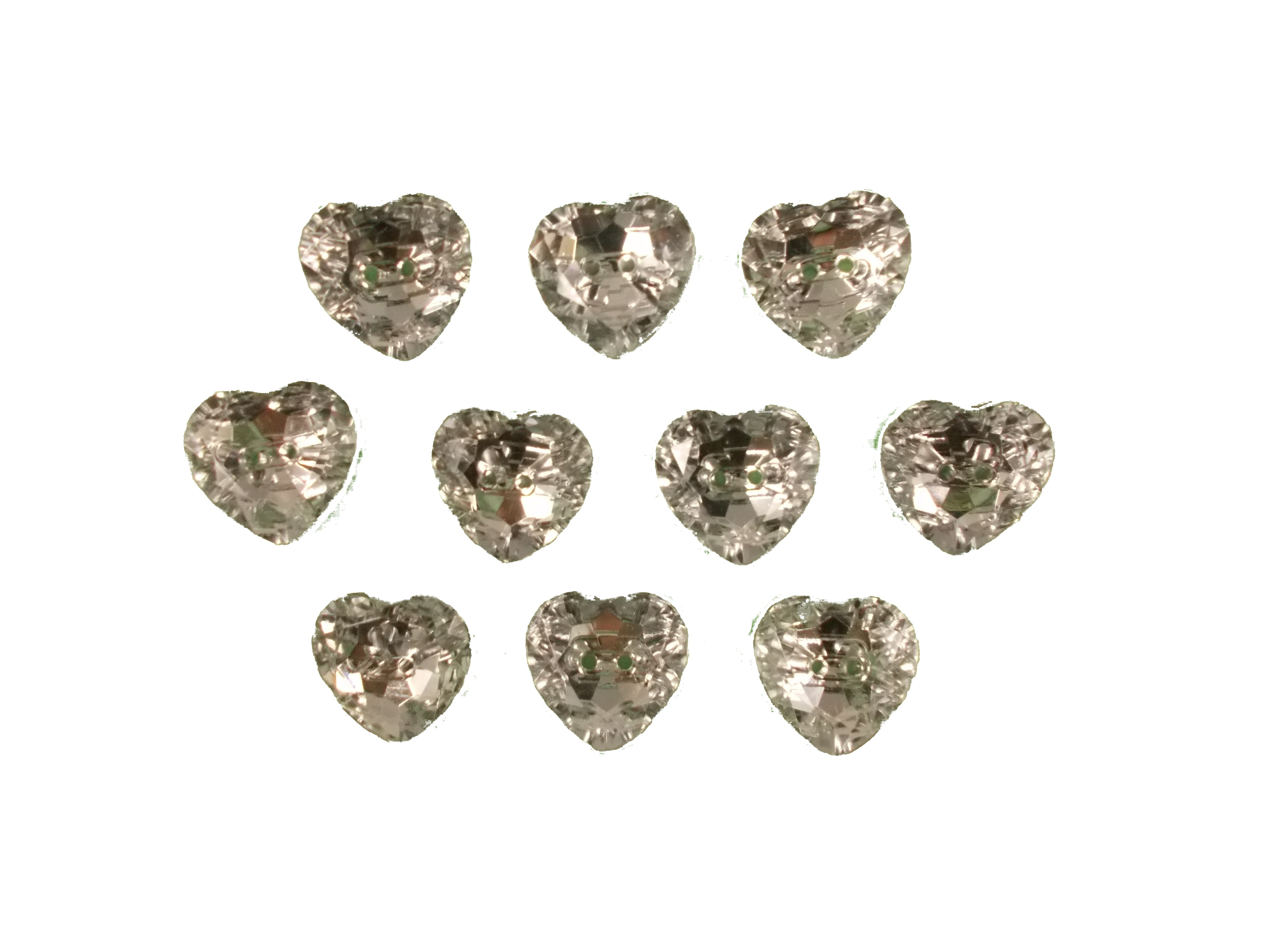 Acrylic Crystal Effect Heart Shape Buttons 16mm Clear Pack of 10