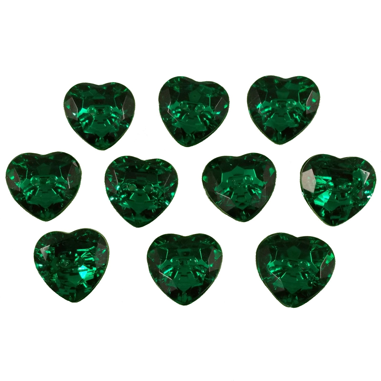 Acrylic Crystal Effect Heart Shape Buttons 12mm Green Pack of 10