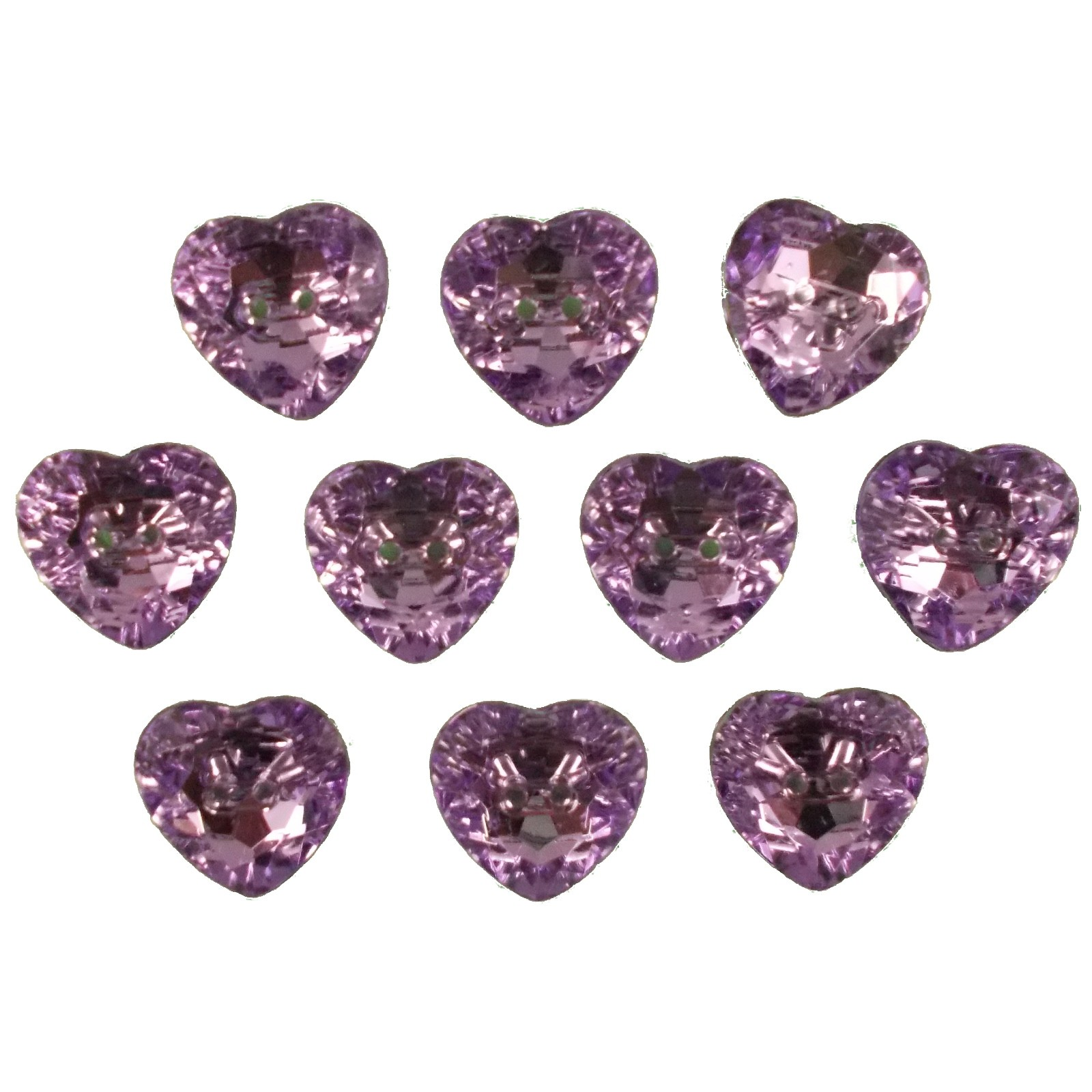 Acrylic Crystal Effect Heart Shape Buttons 28mm Lilac Pack of 10