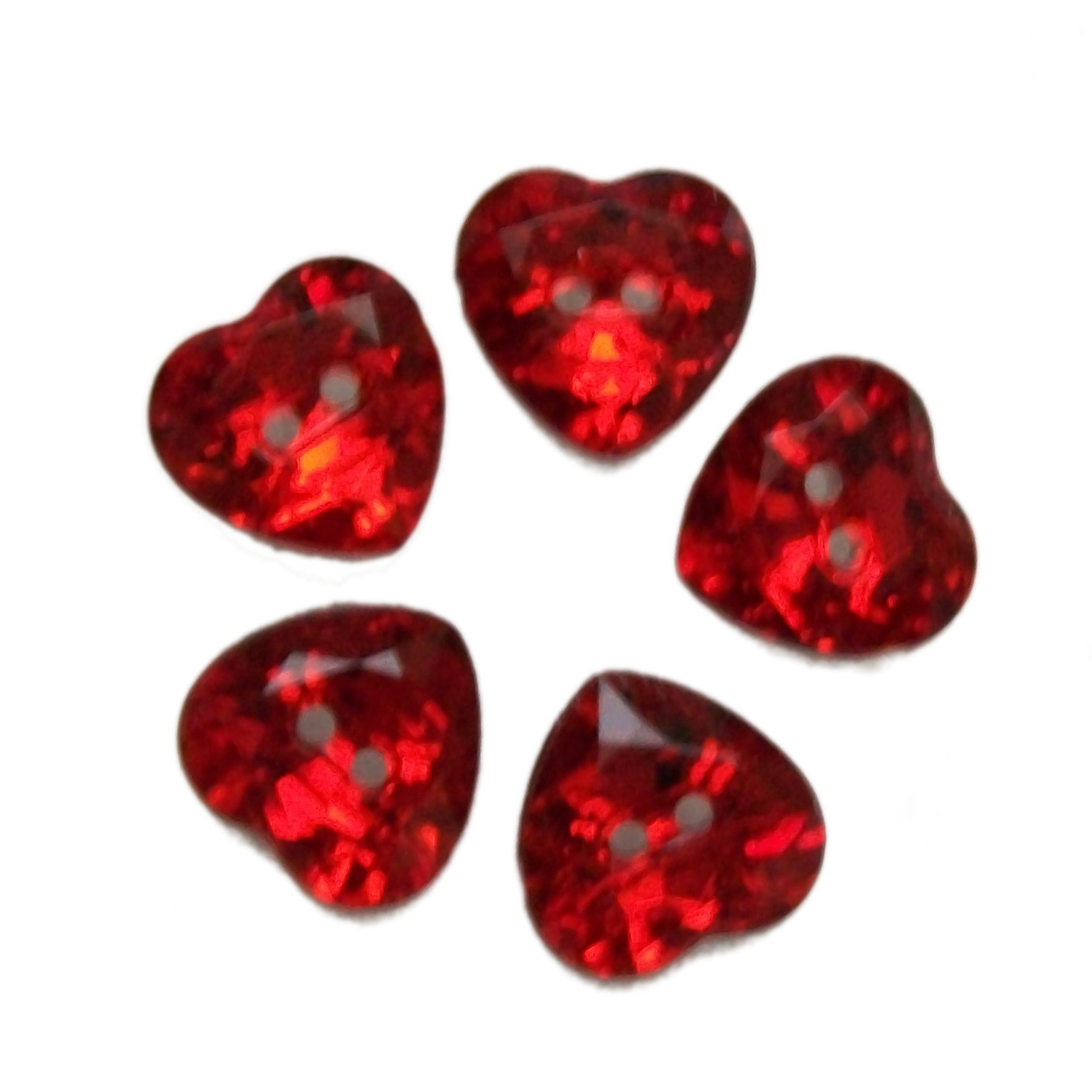 Acrylic Crystal Effect Heart Shape Buttons 20mm Red Pack of 5