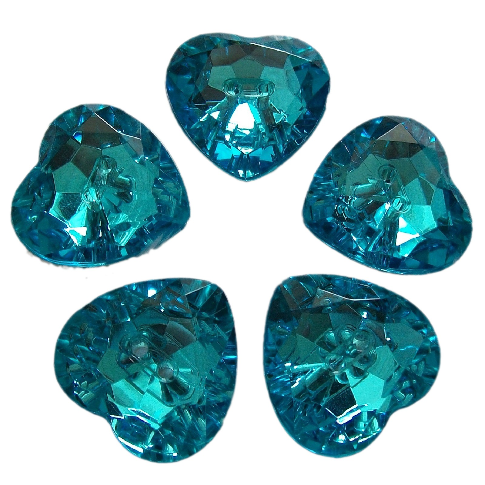 Acrylic Crystal Effect Heart Shape Buttons 12mm Turquoise Pack of 5