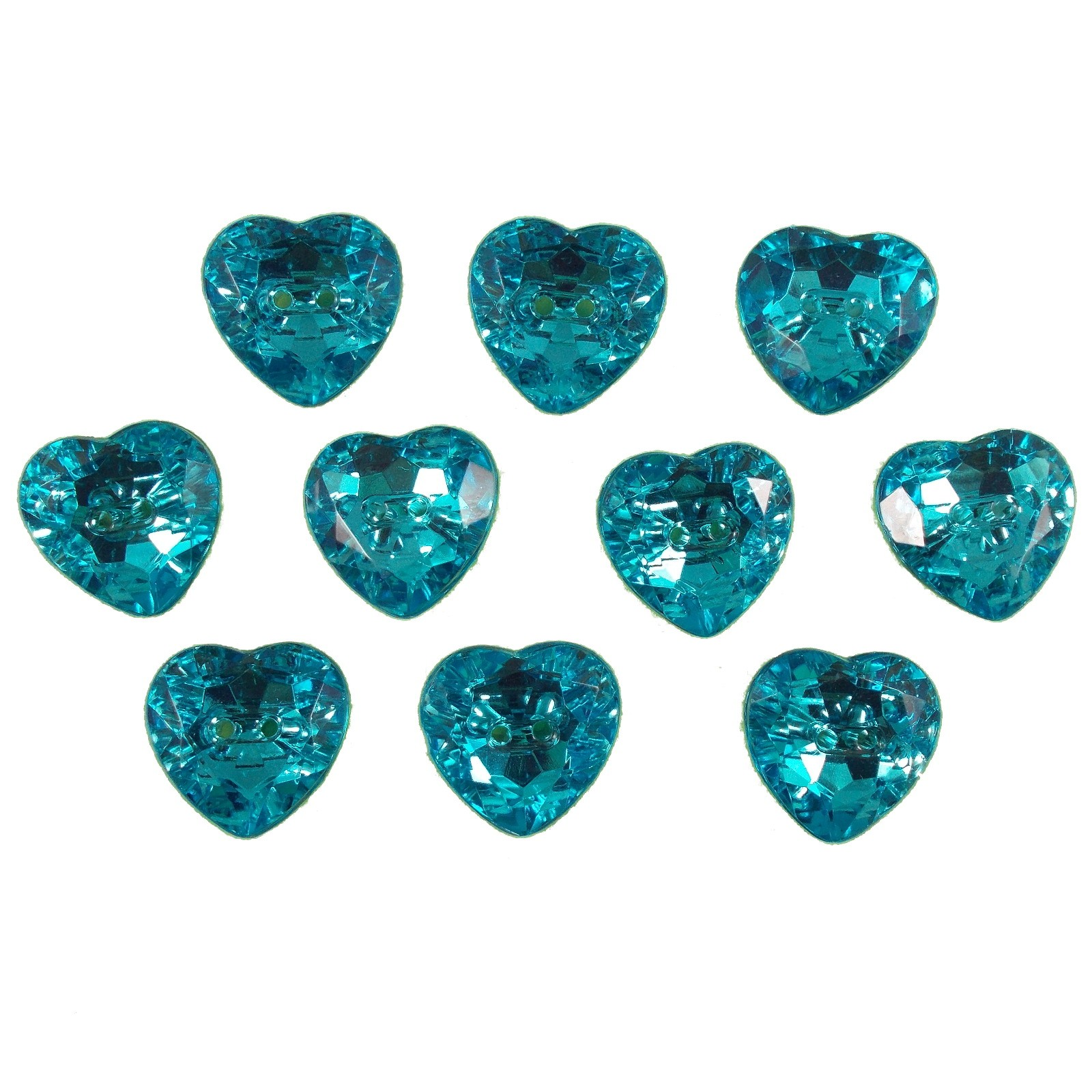 Acrylic Crystal Effect Heart Shape Buttons 16mm Turquoise Pack of 10