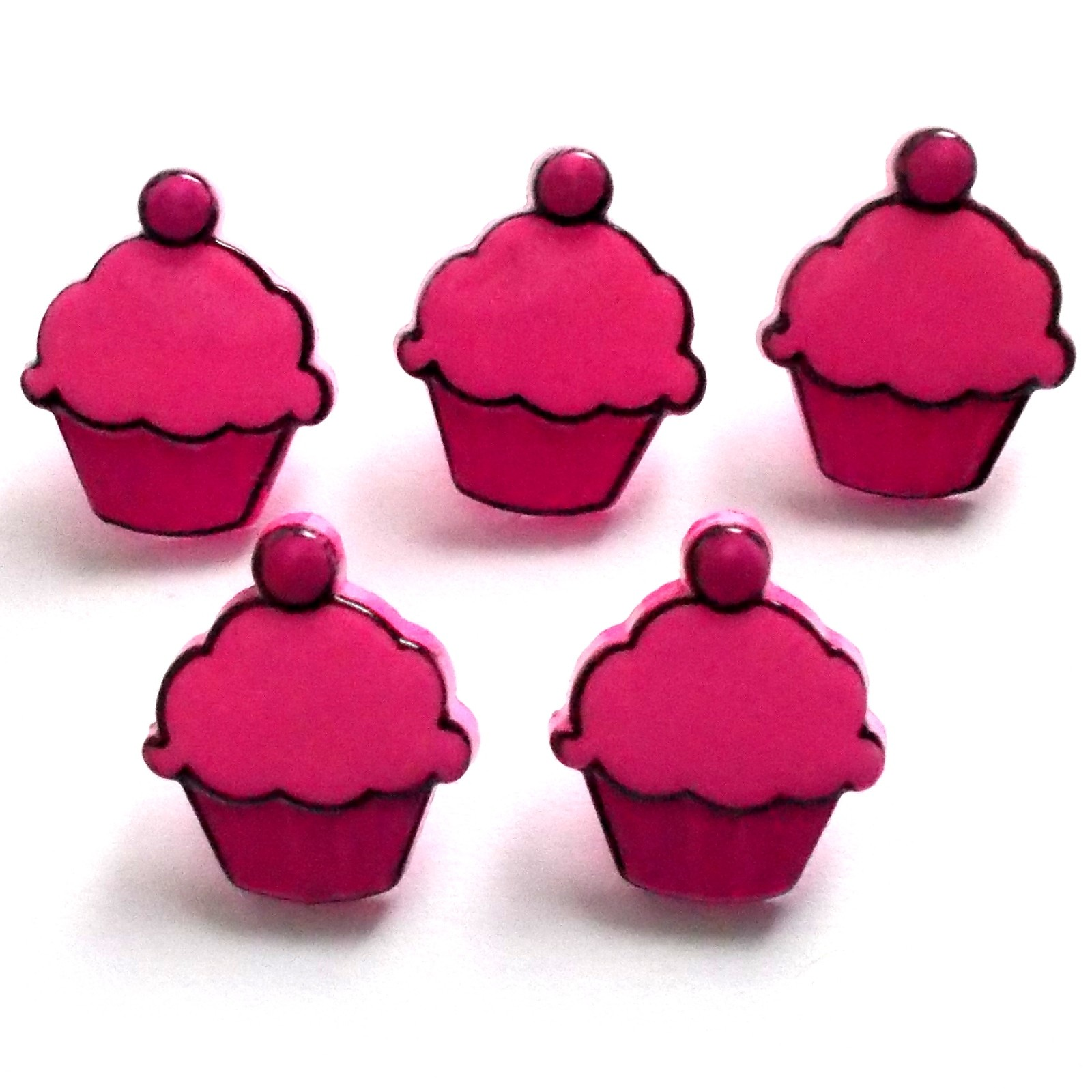 Cupcake Shape Buttons 15mm tall Pink Pack of 5