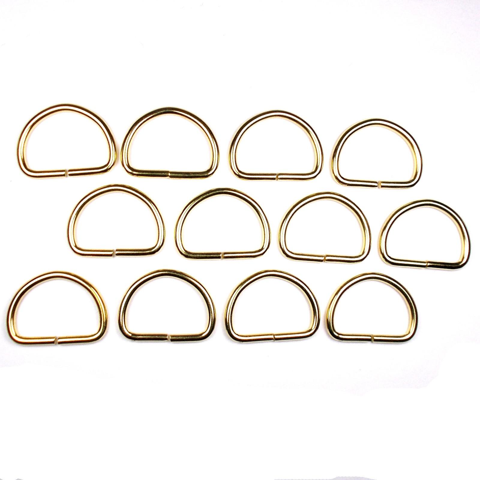 Gold Metal D Rings 26mm Pack of 12