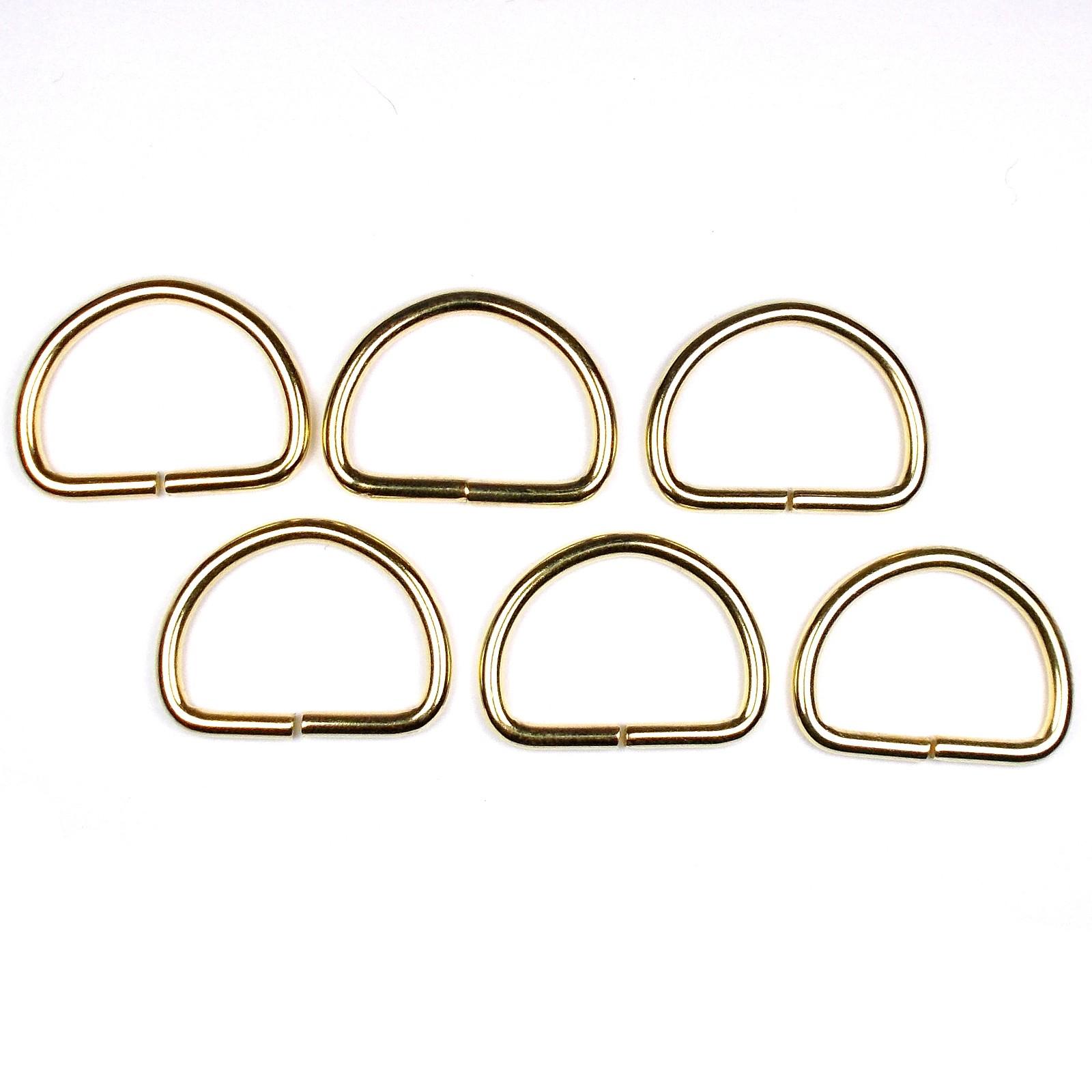 Gold Metal D Rings 33mm Pack of 6