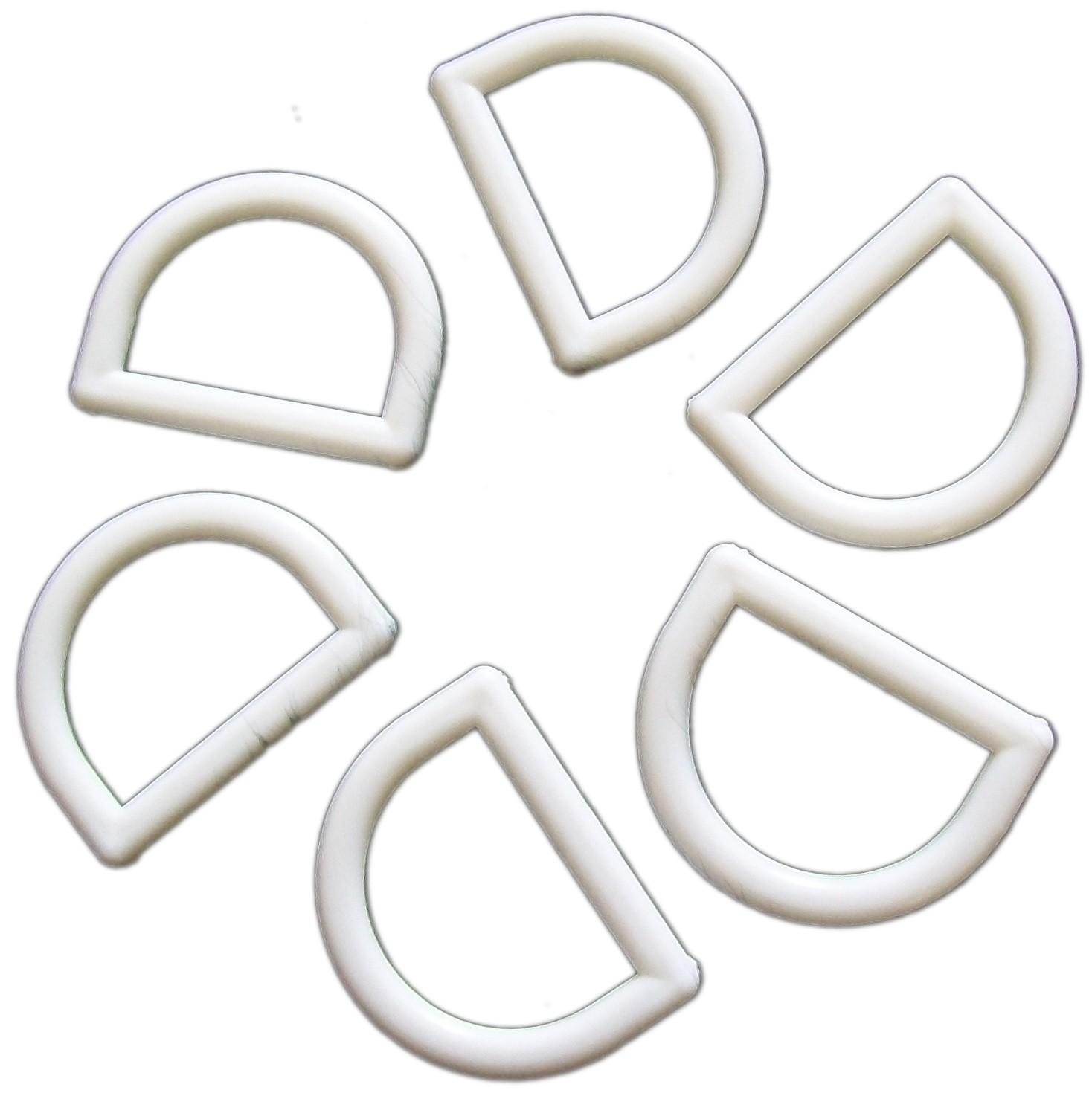 White Plastic D Rings 33mm Pack of 6