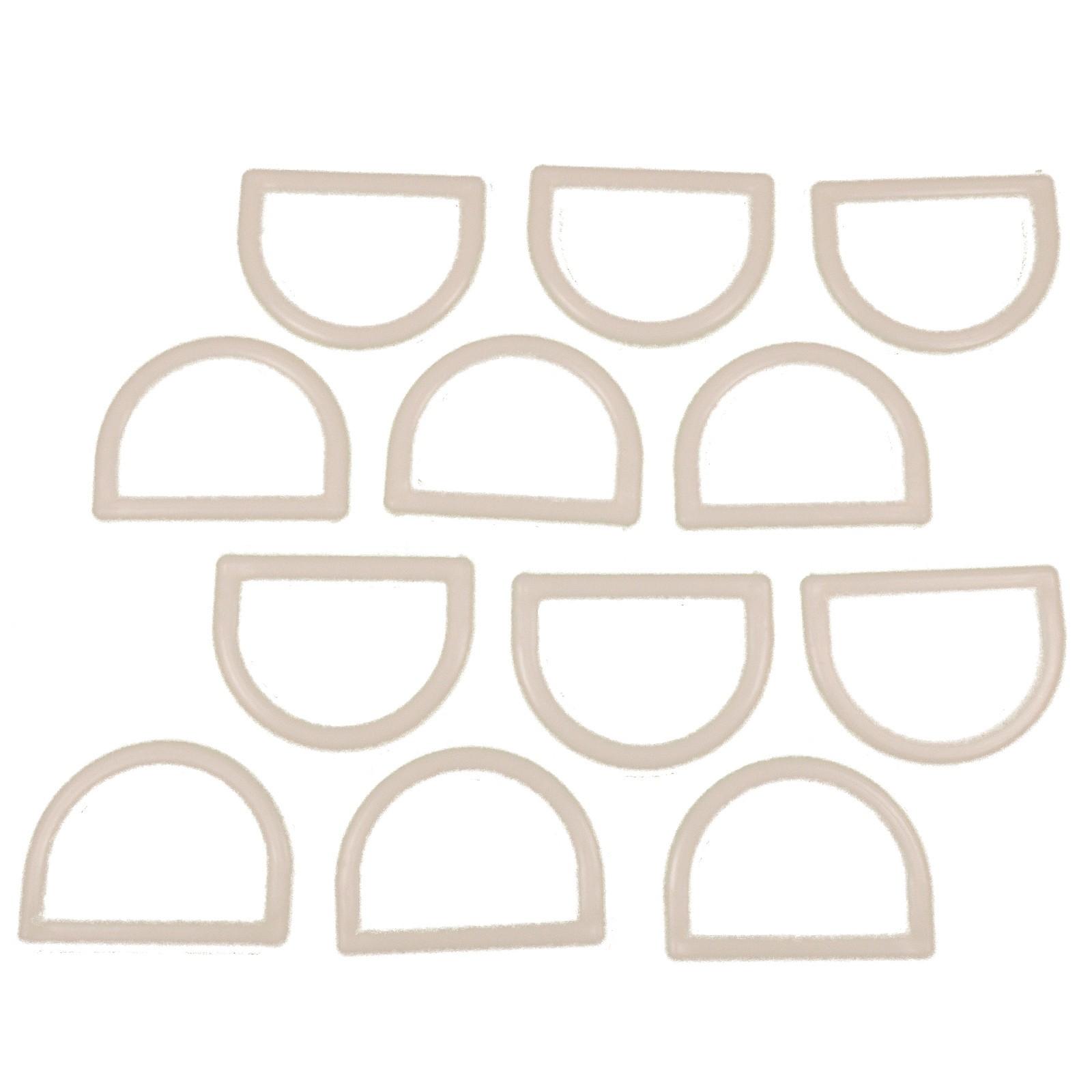White Plastic D Rings 29mm Pack of 12