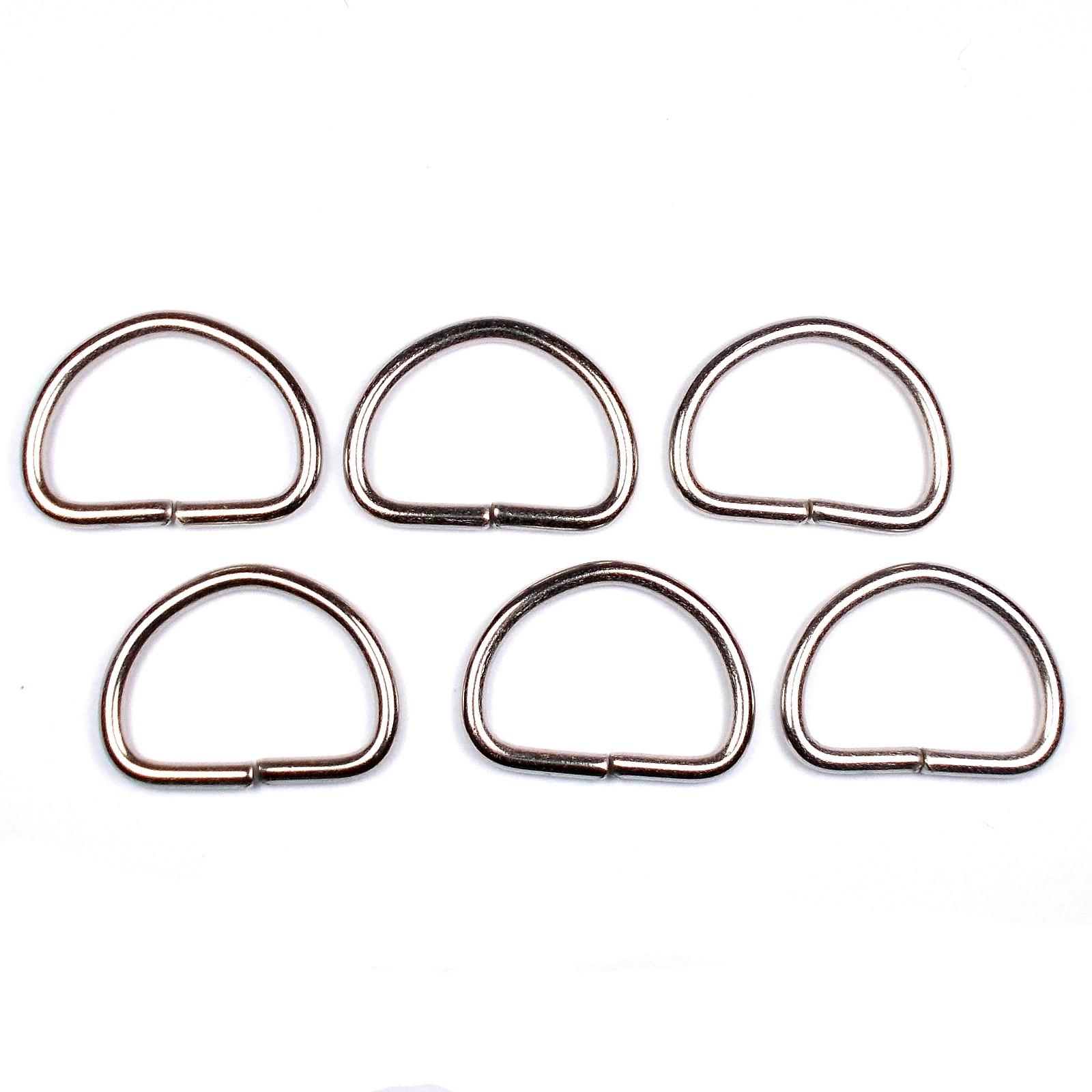 Silver Metal D Rings 29mm Pack of 6