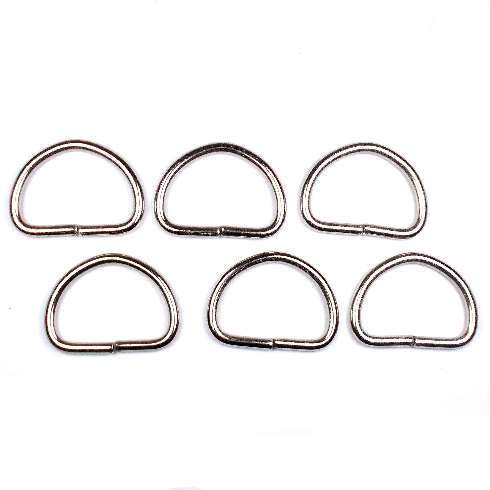 Silver Metal D Rings 33mm Pack of 6