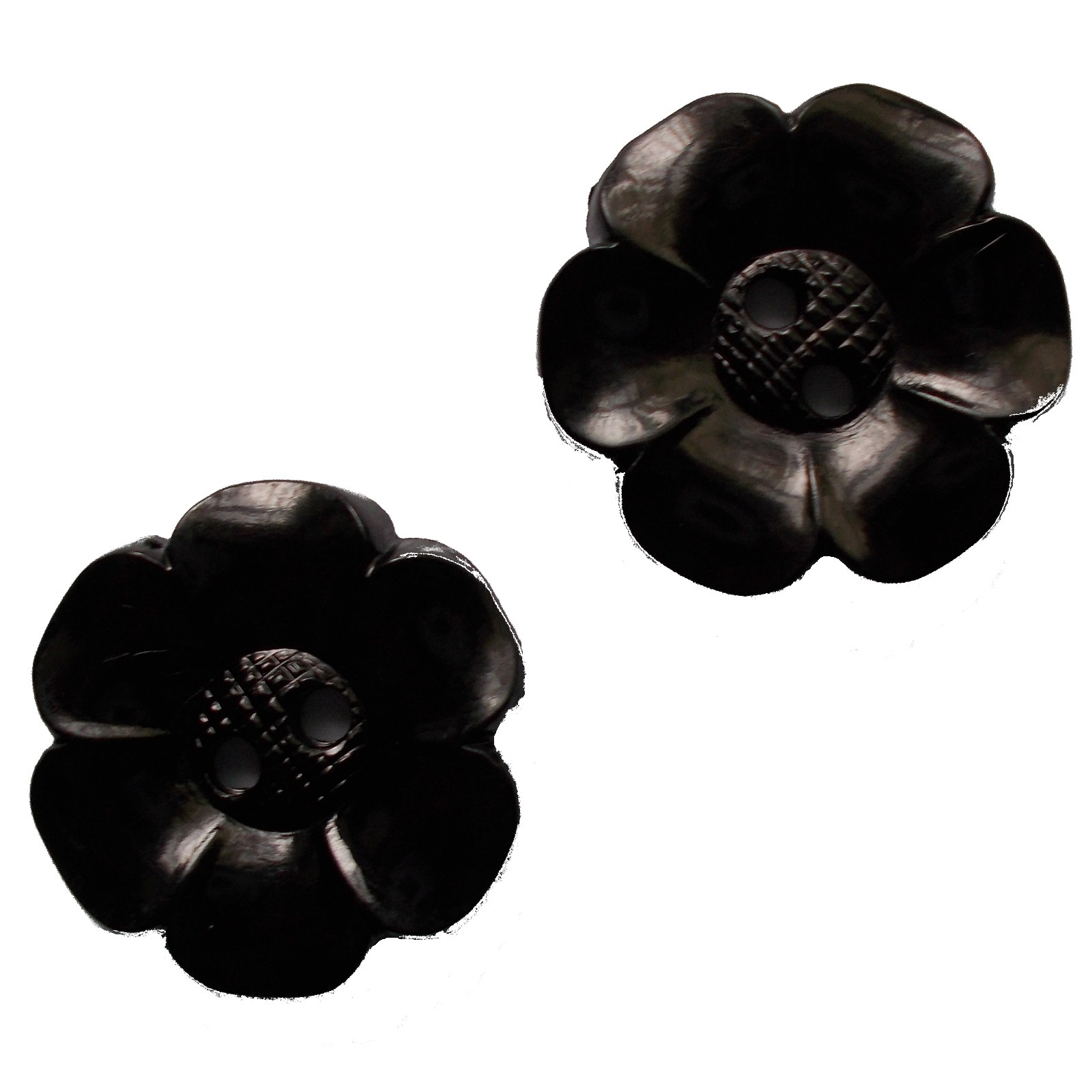 Large Daisy Flower Feature Button 63mm Black Pack of 2