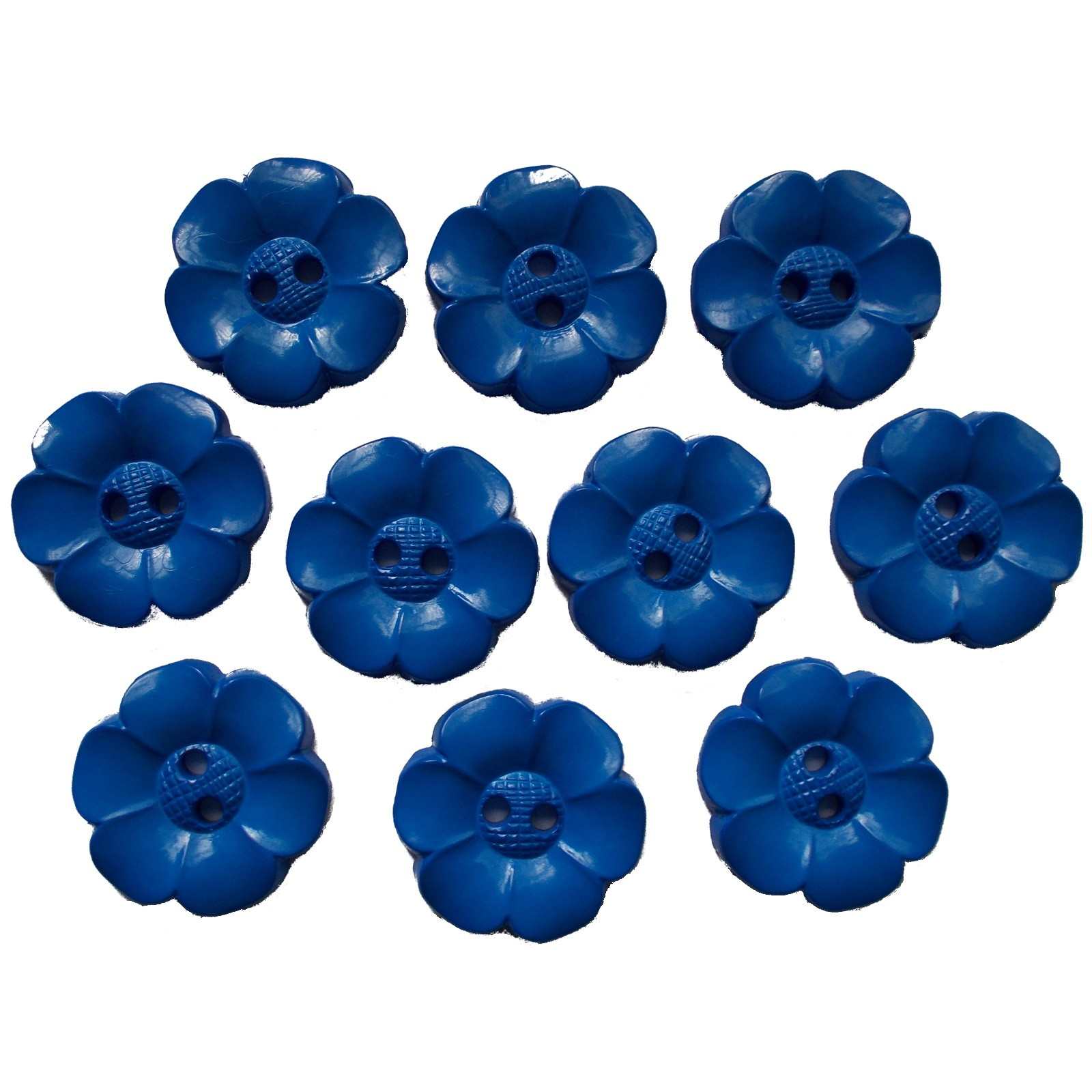 Large Daisy Flower Feature Button 22mm Blue Pack of 10