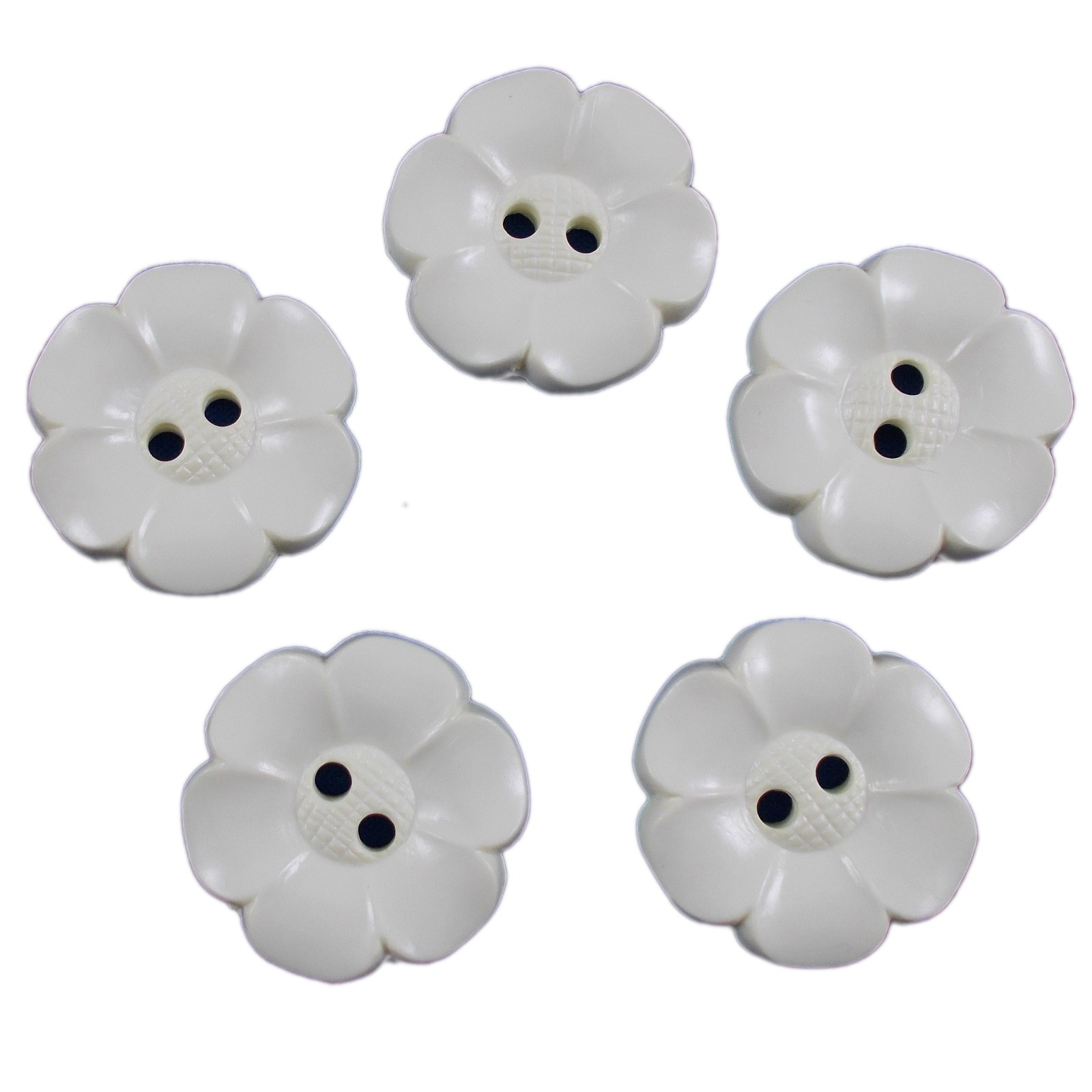 Large Daisy Flower Feature Button 38mm Cream Pack of 5