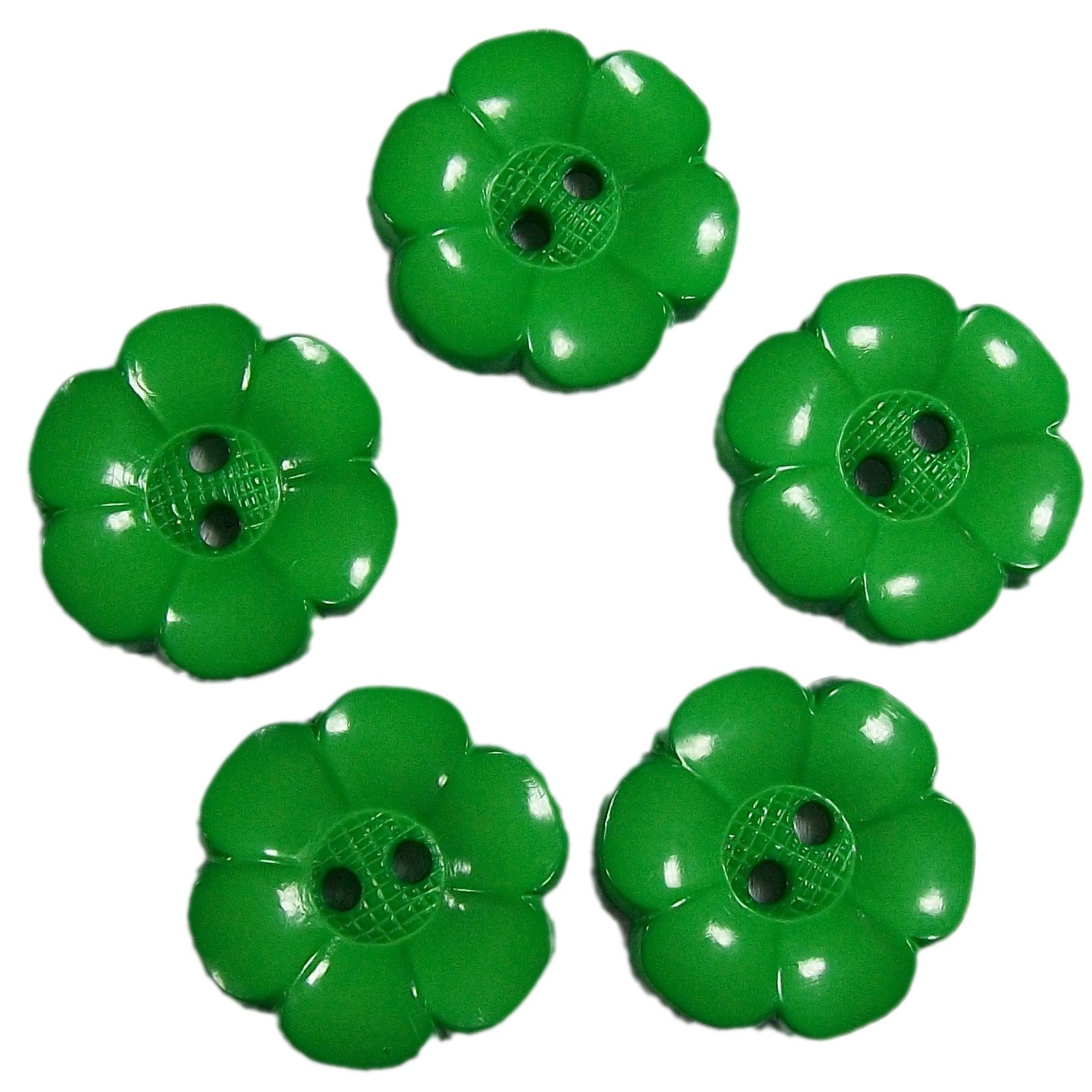 Large Daisy Flower Feature Button 22mm Green Pack of 5