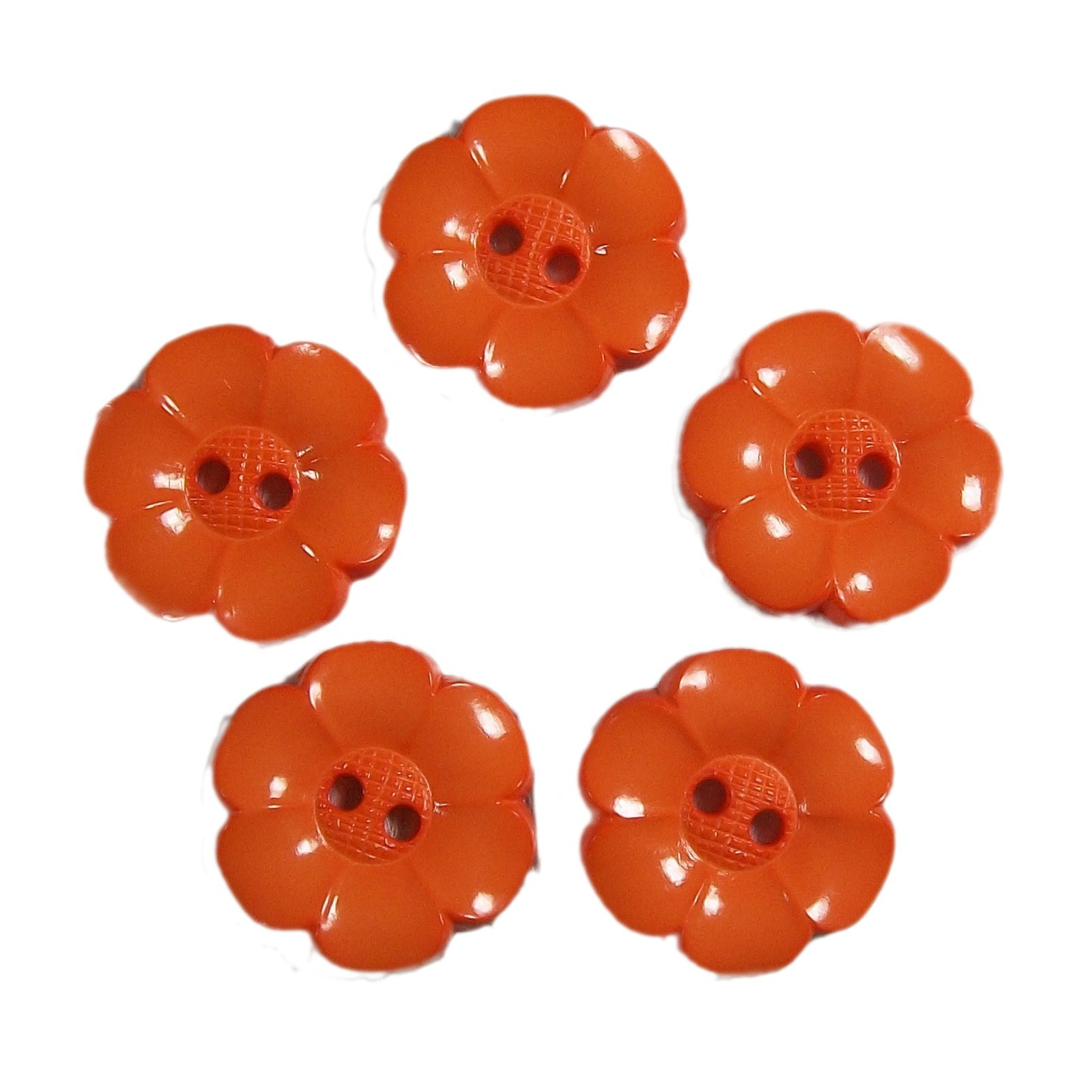 Large Daisy Flower Feature Button 38mm Orange Pack of 5