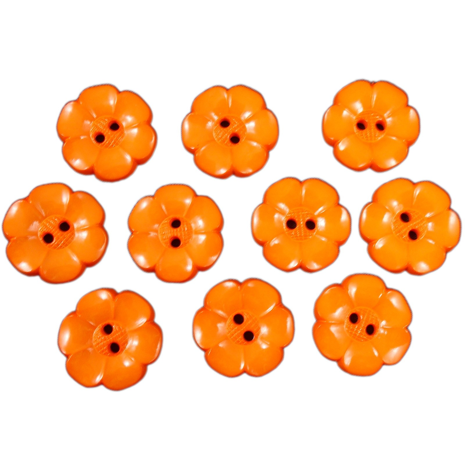 Large Daisy Flower Feature Button 22mm Orange Pack of 10