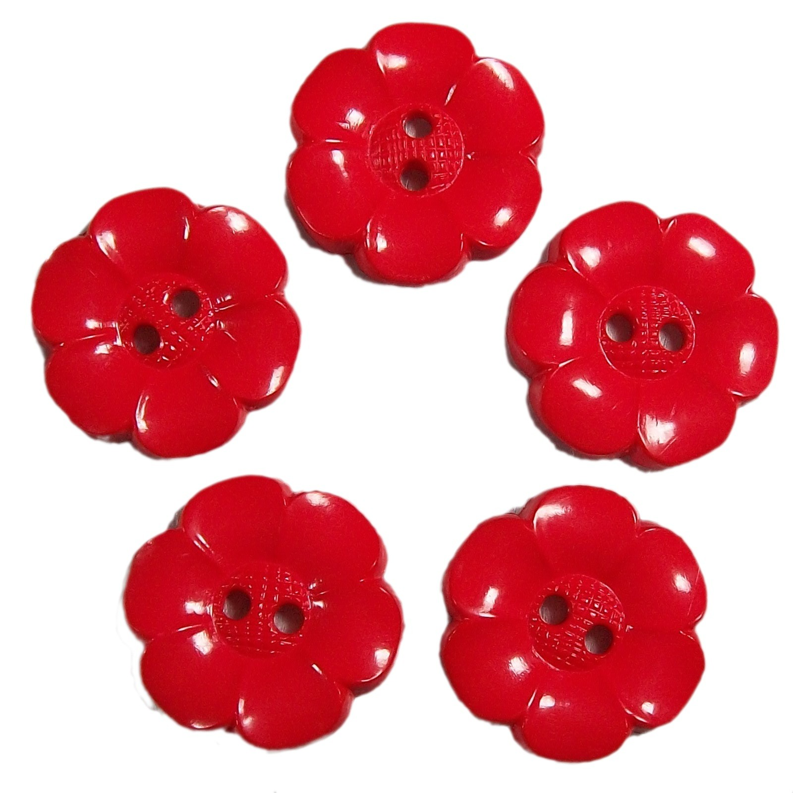 Large Daisy Flower Feature Button 22mm Red Pack of 5