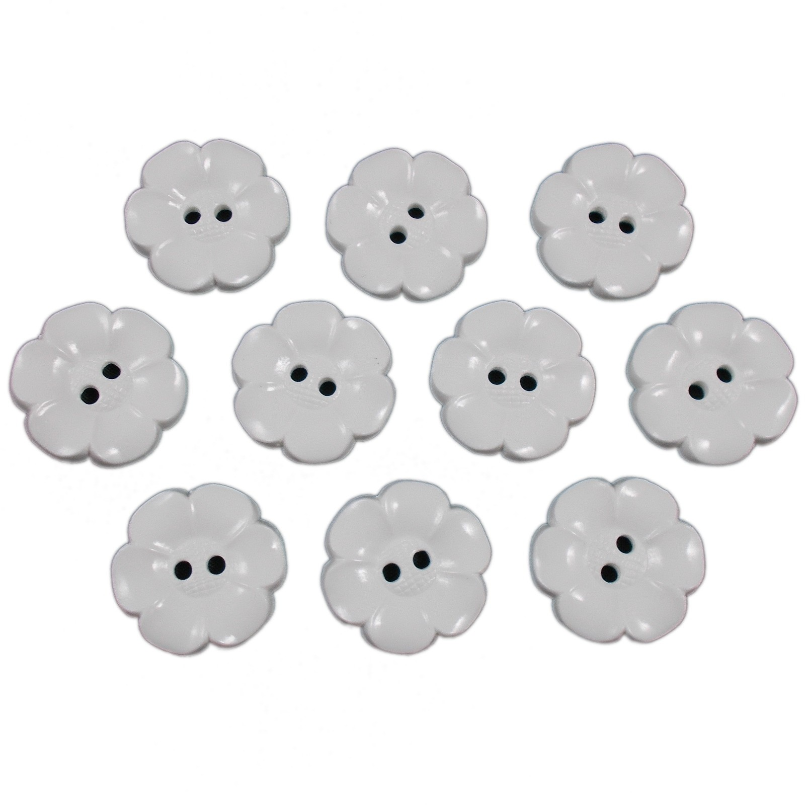 Large Daisy Flower Feature Button 22mm White Pack of 10