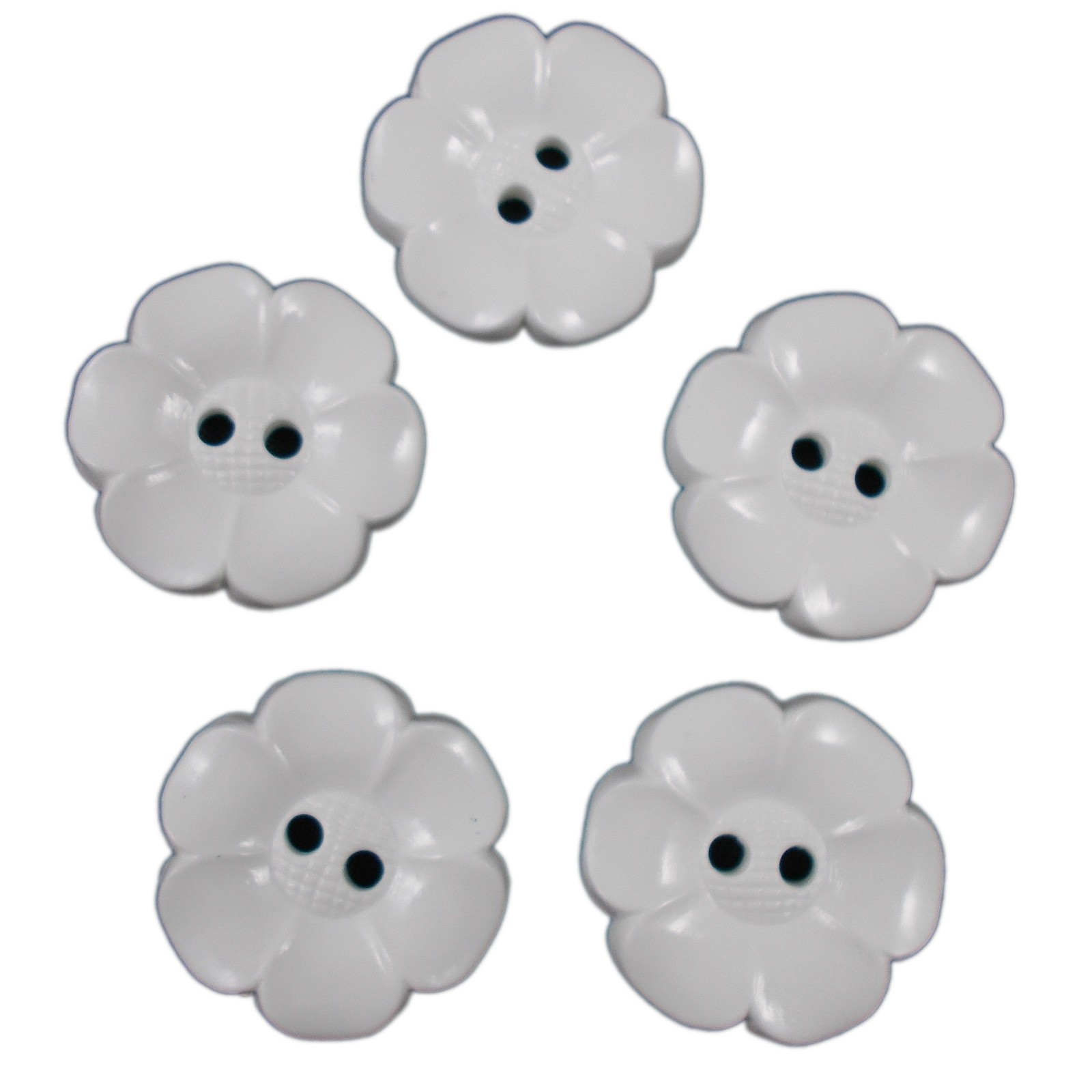 Large Daisy Flower Feature Button 22mm White Pack of 5