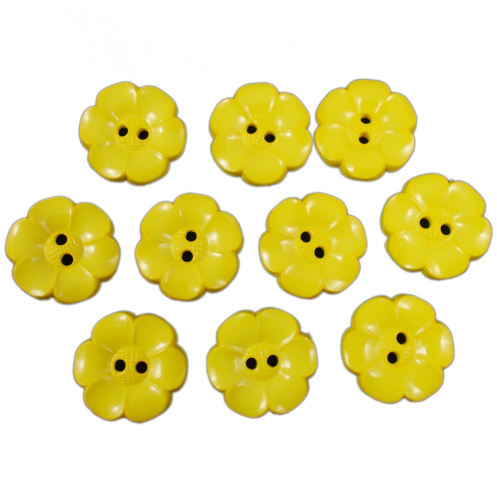 Large Daisy Flower Feature Button 22mm Yellow Pack of 10