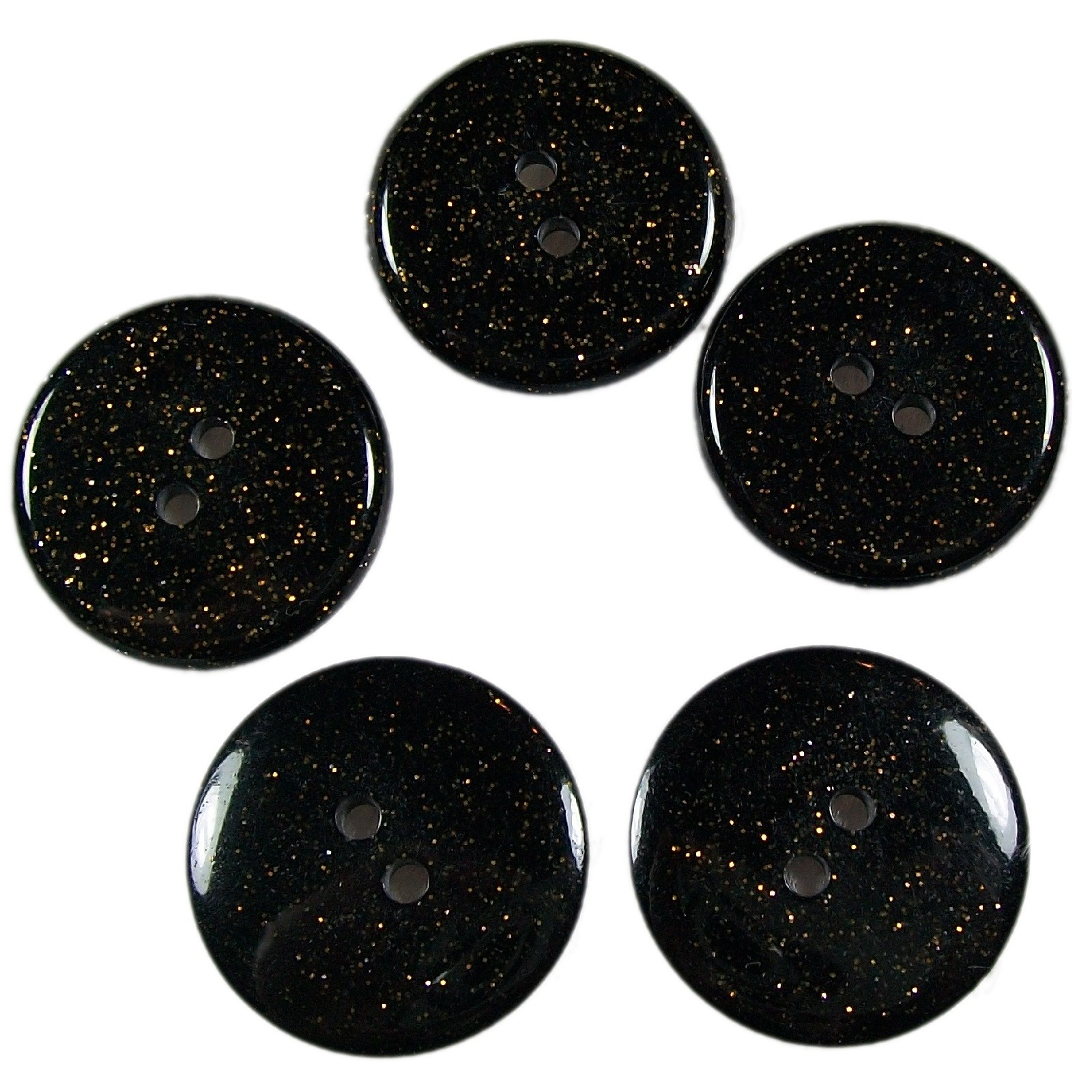 Dark Glitter Buttons 25mm Black Pack of 5