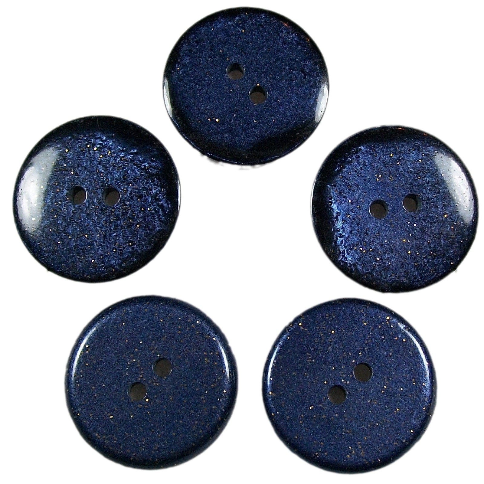 Dark Glitter Buttons 15mm Blue Pack of 5