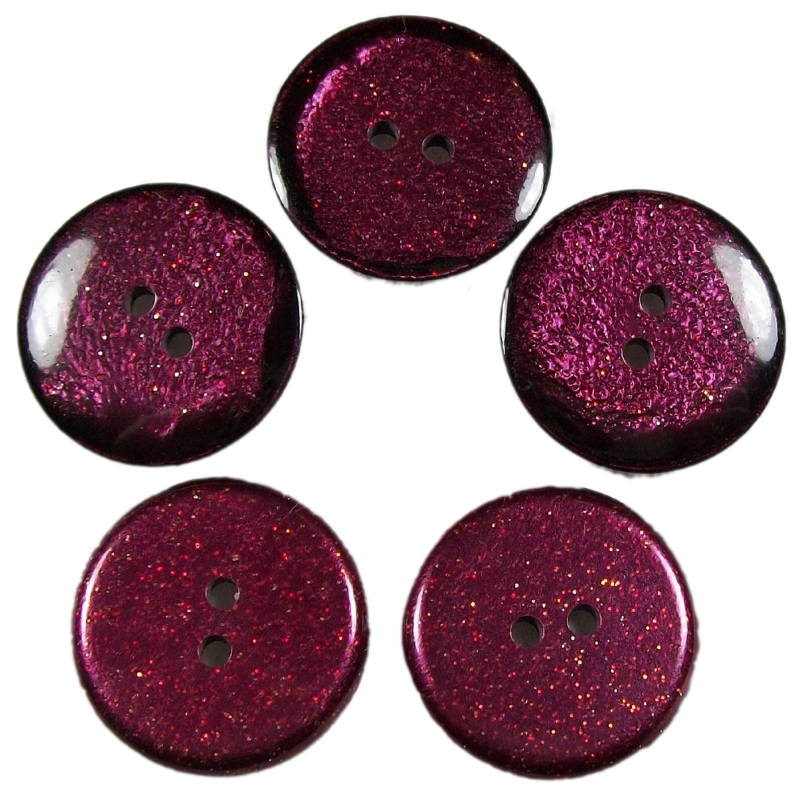 Dark Glitter Buttons 25mm Burgundy Pack of 5