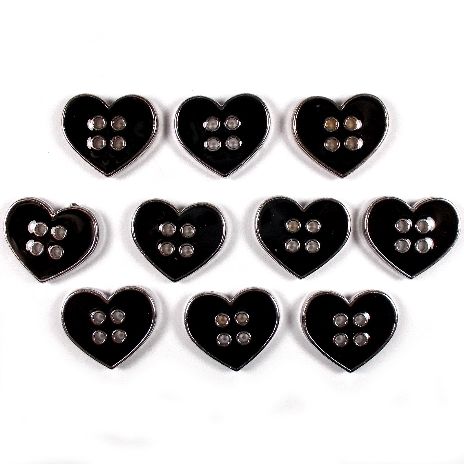 Enamel Metal 4 Hole Heart Silver Colour Buttons 11mm Black Pack of 10