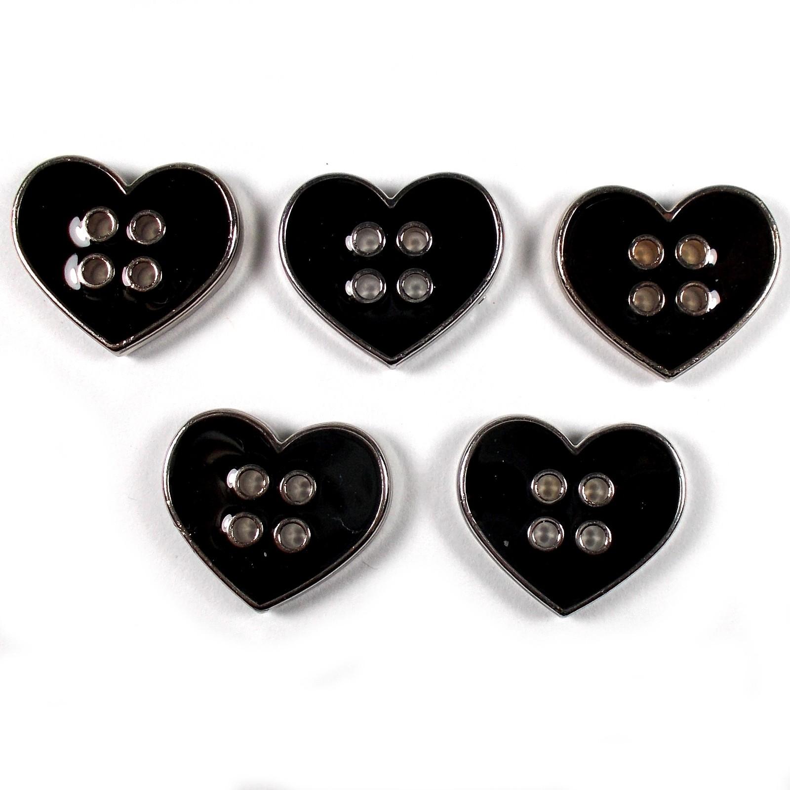 Enamel Metal 4 Hole Heart Silver Colour Buttons 11mm Black