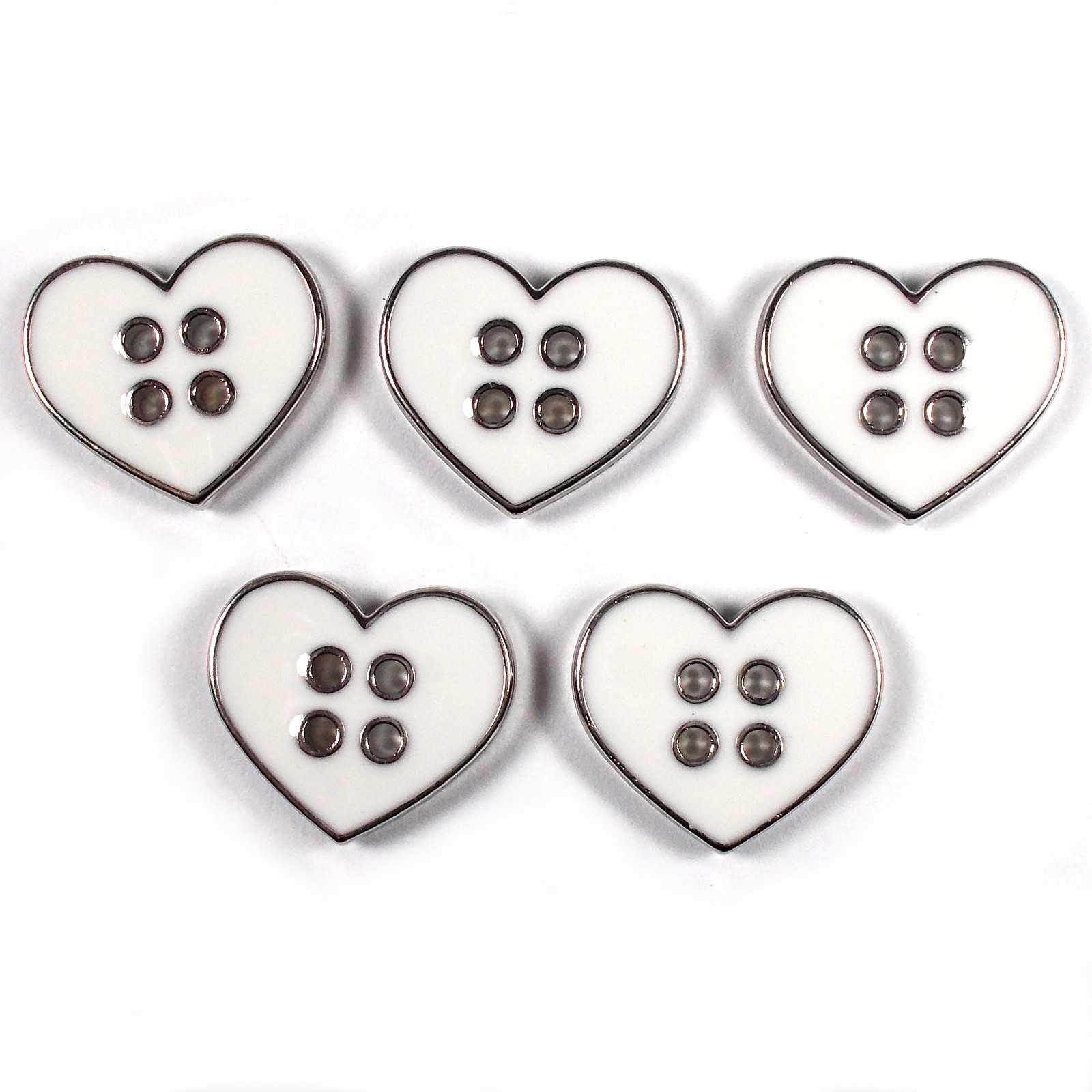 Enamel Metal 4 Hole Heart Silver Colour Buttons 16mm White