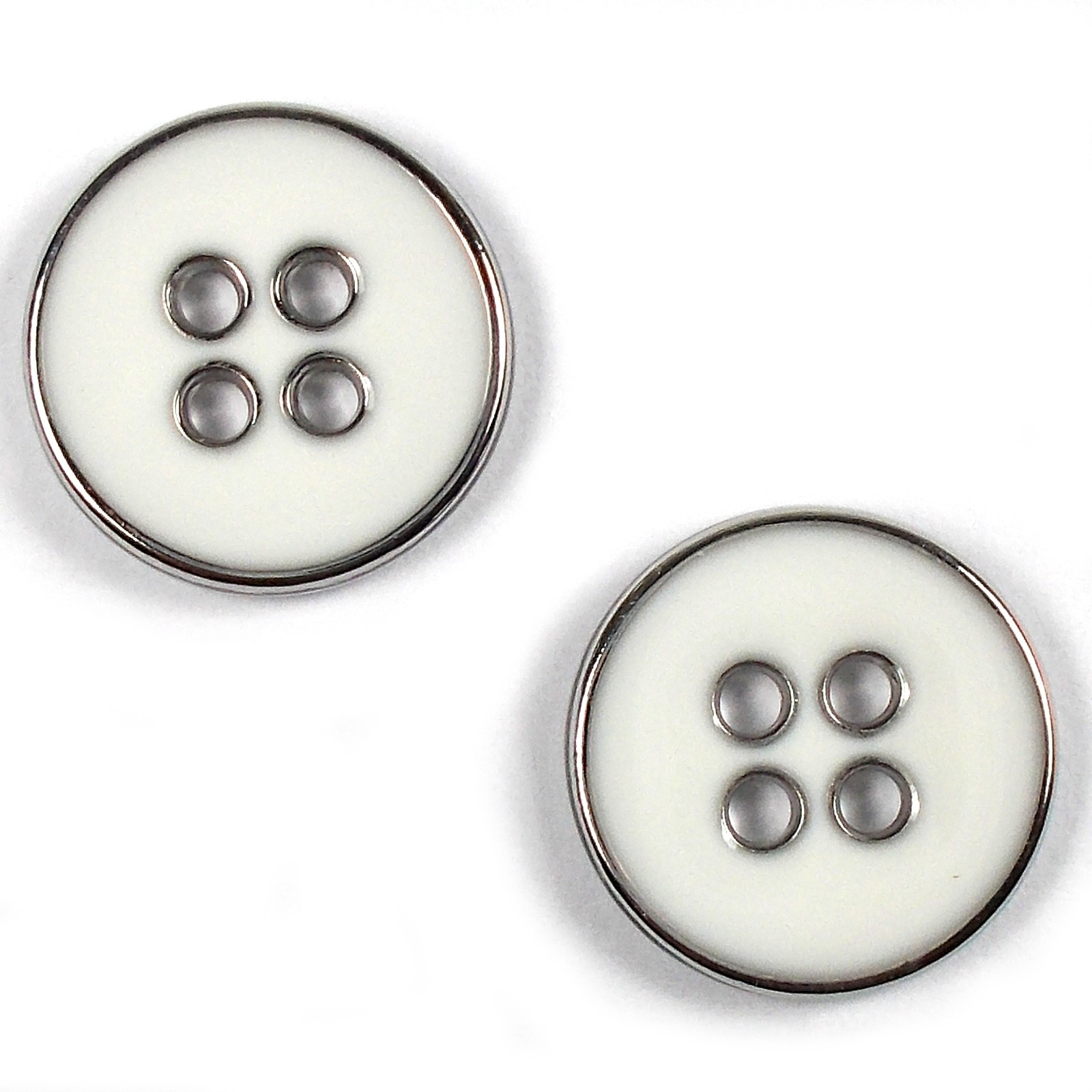 Enamel Metal 4 Hole Round Shirt Buttons 9mm White Pack of 2