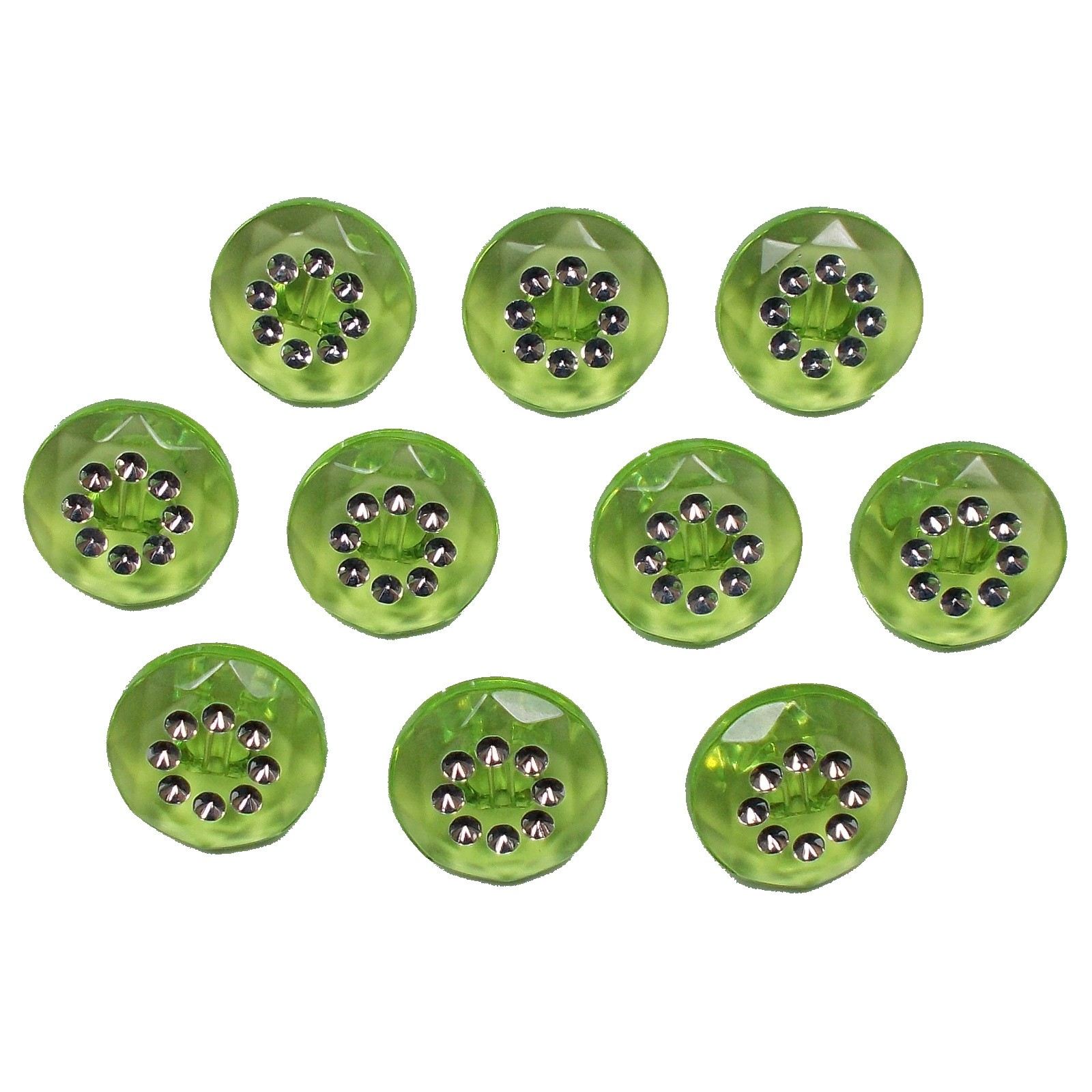 Acrylic Buttons with Faux Diamante Circle Design 11mm Green Pack of 10