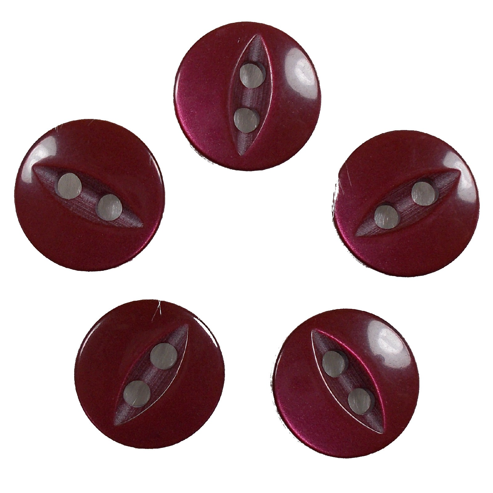 Fisheye Basic Buttons 11mm Burgundy Pack of 5