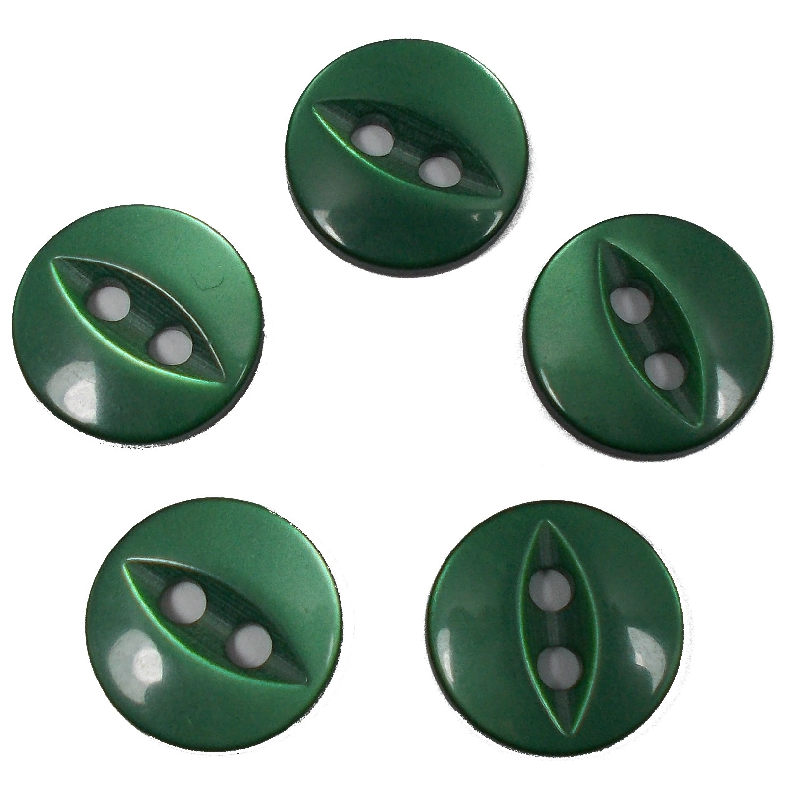 Fisheye Basic Buttons 16mm Green Pack of 5