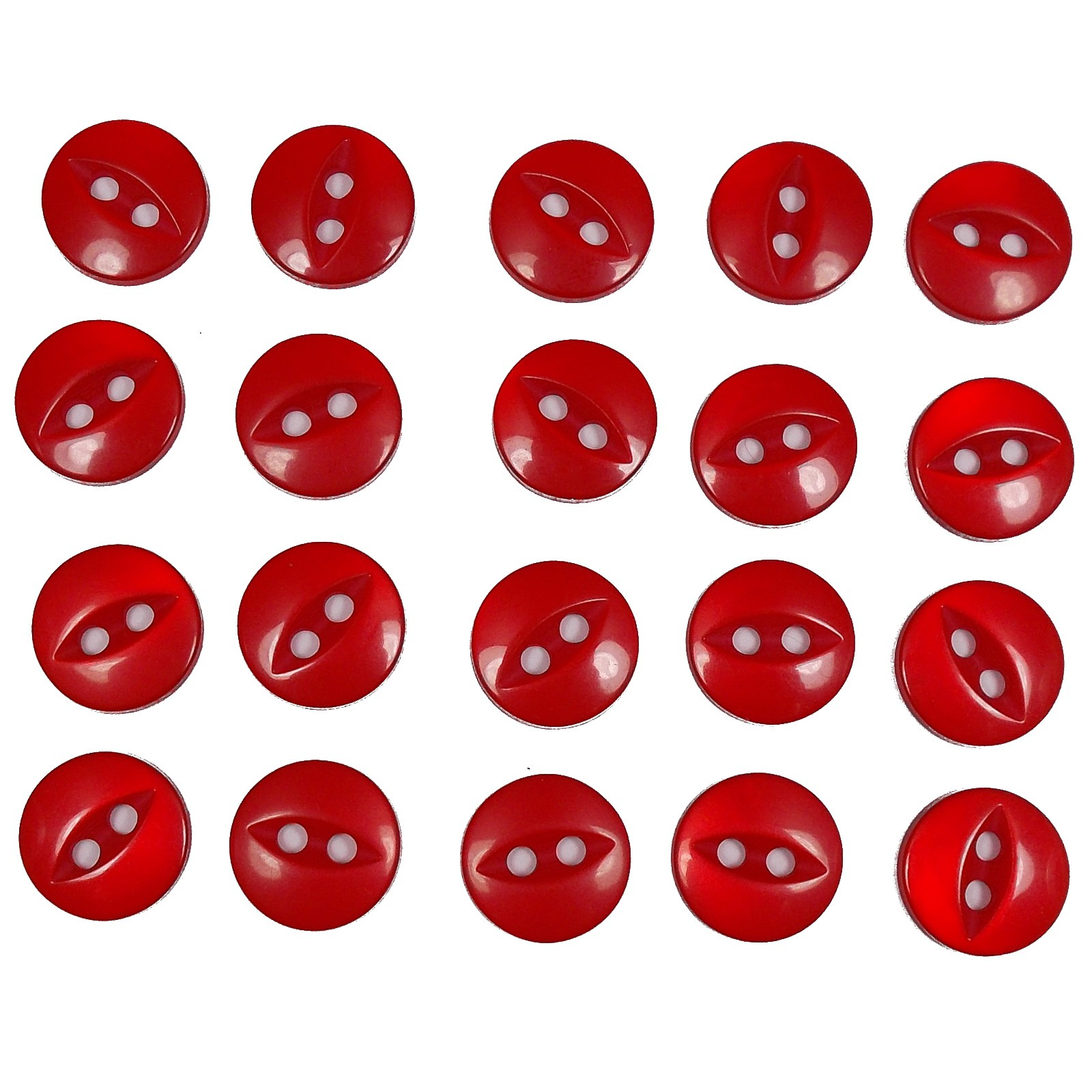 Fisheye Basic Buttons 19mm Shiny Red Pack of 20