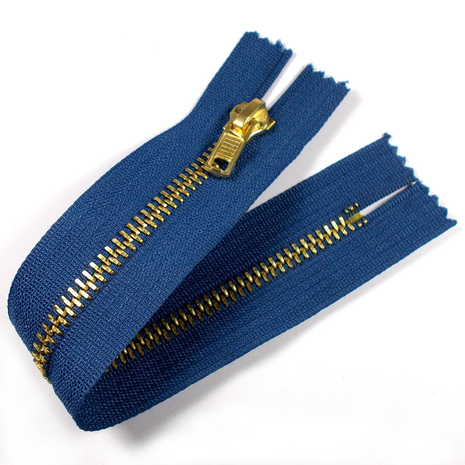 Gold Metal Trouser Jeans Zip Zipper 7 inch Blue