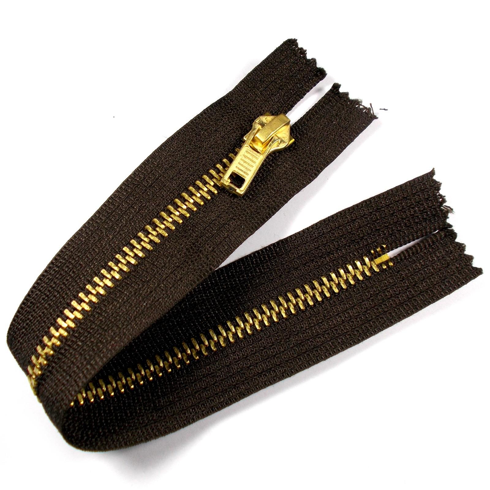 Gold Metal Trouser Jeans Zip Zipper 6 inch Brown