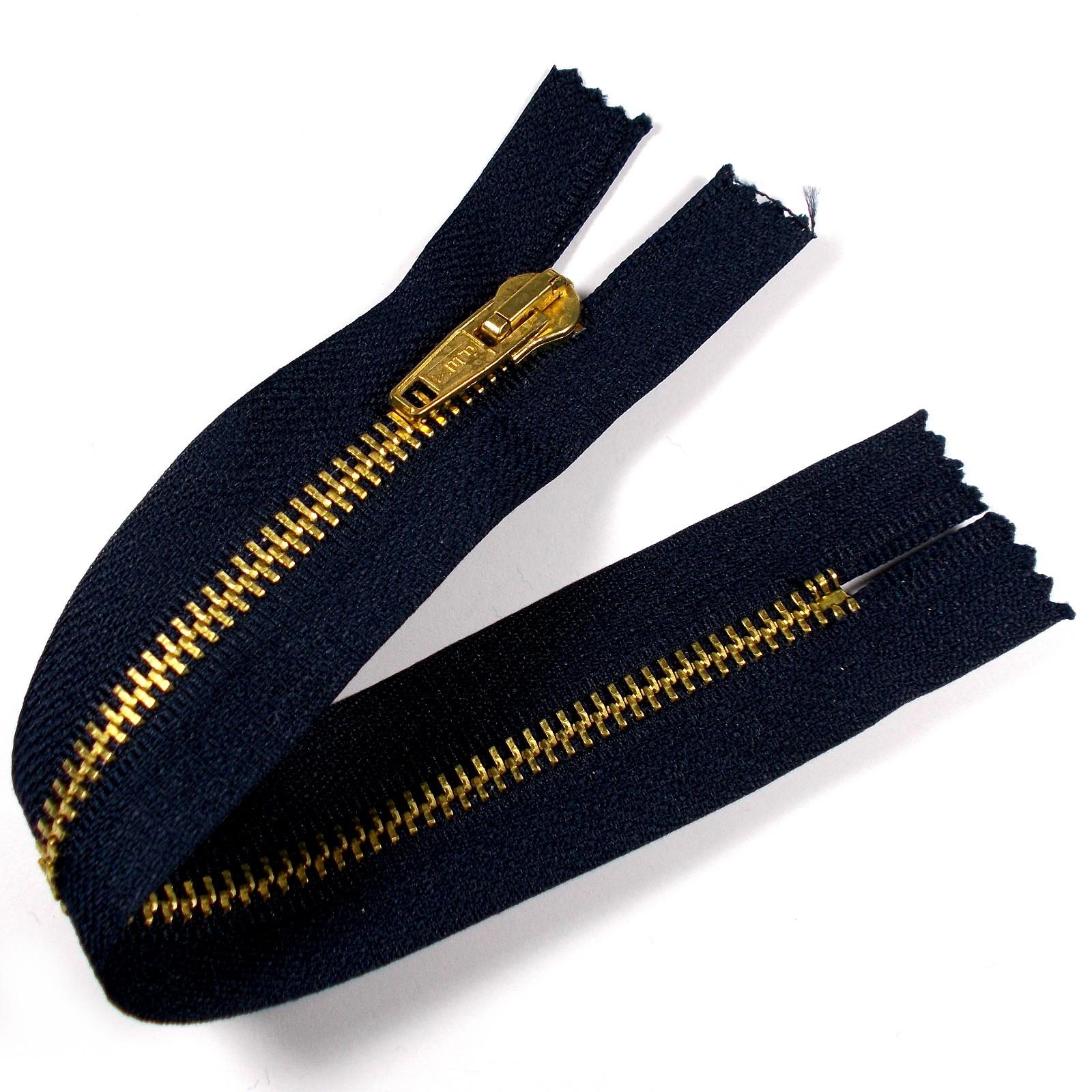 Gold Metal Trouser Jeans Zip Zipper 5 inch Dark Blue