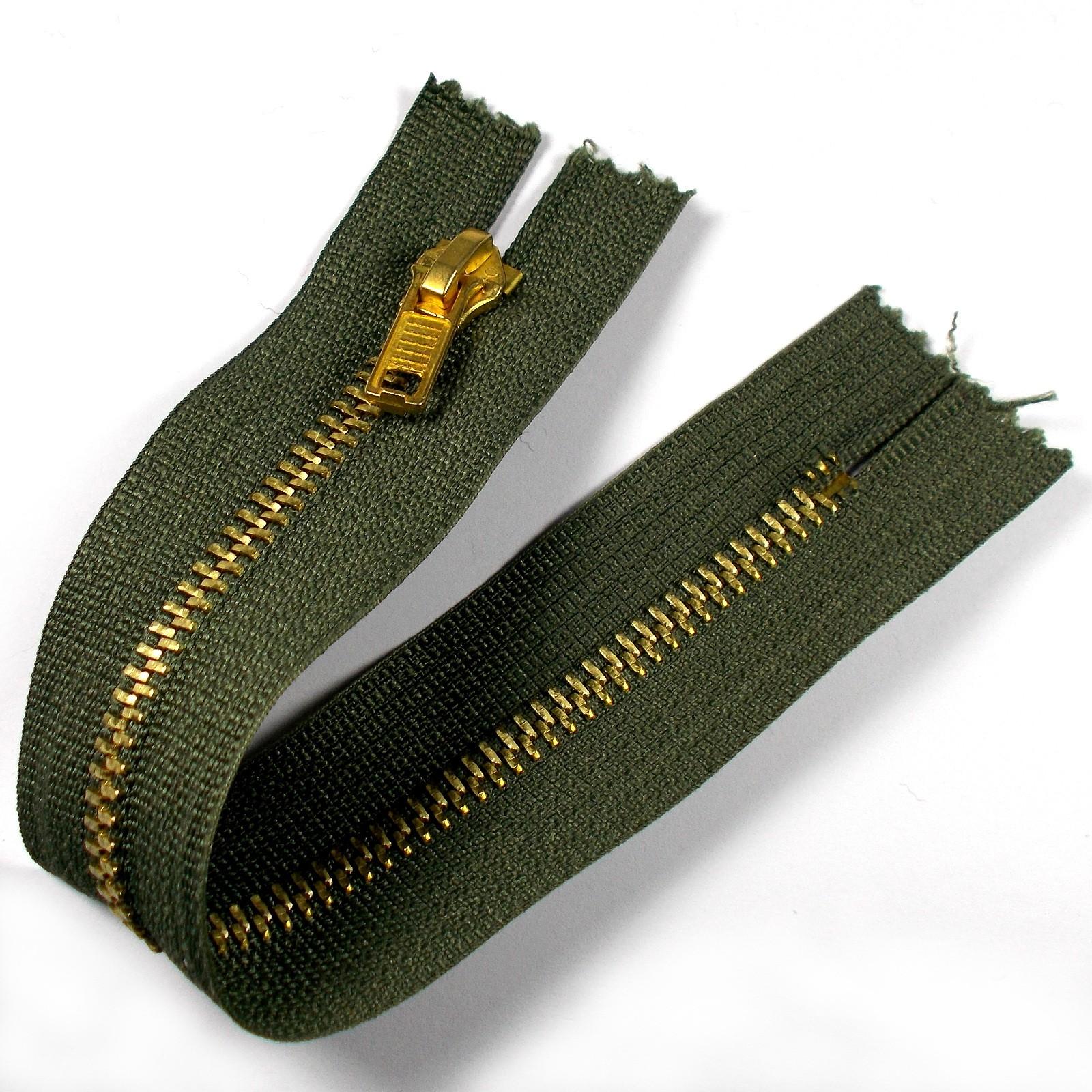 Gold Metal Trouser Jeans Zip Zipper 6 inch Green
