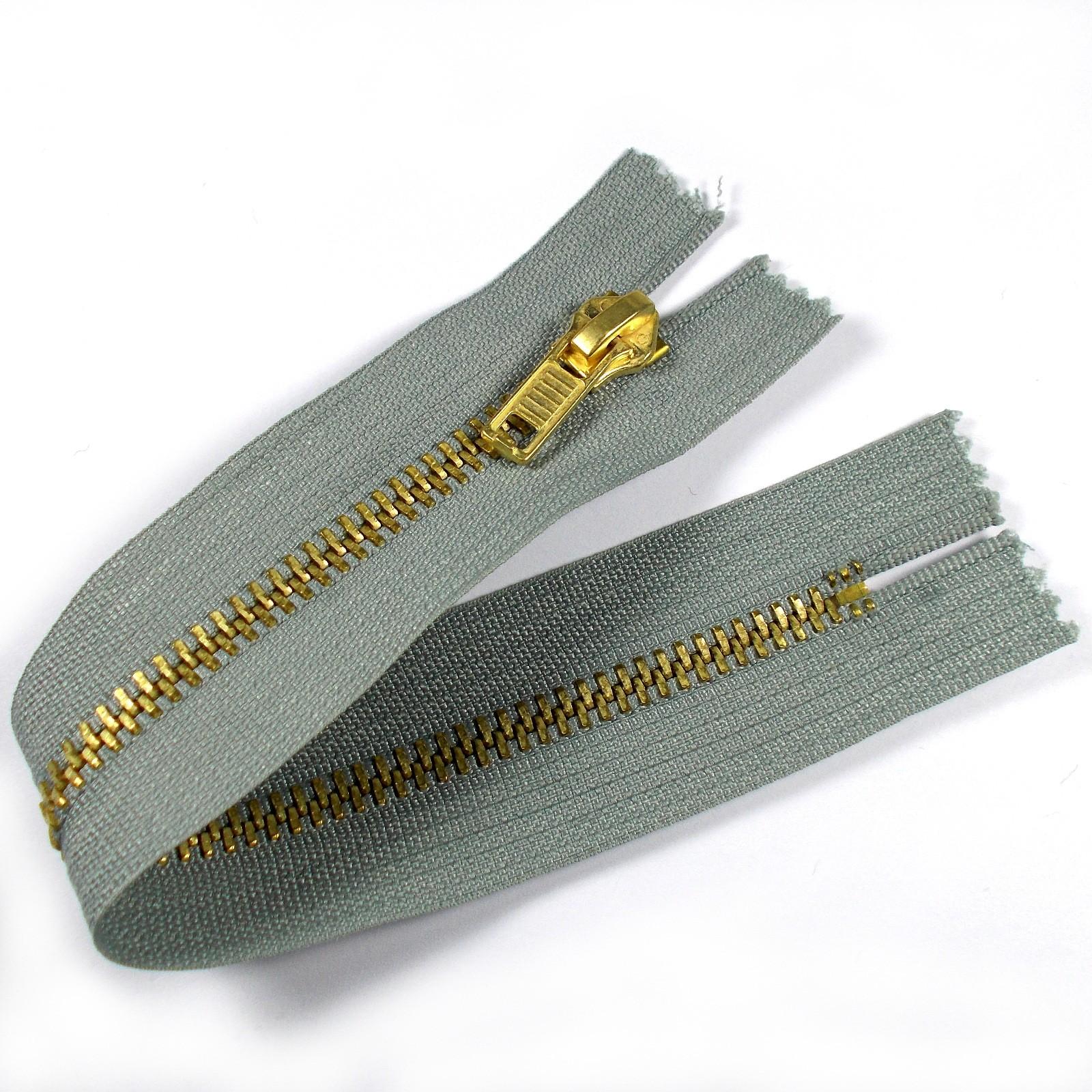 Gold Metal Trouser Jeans Zip Zipper 8 inch Grey