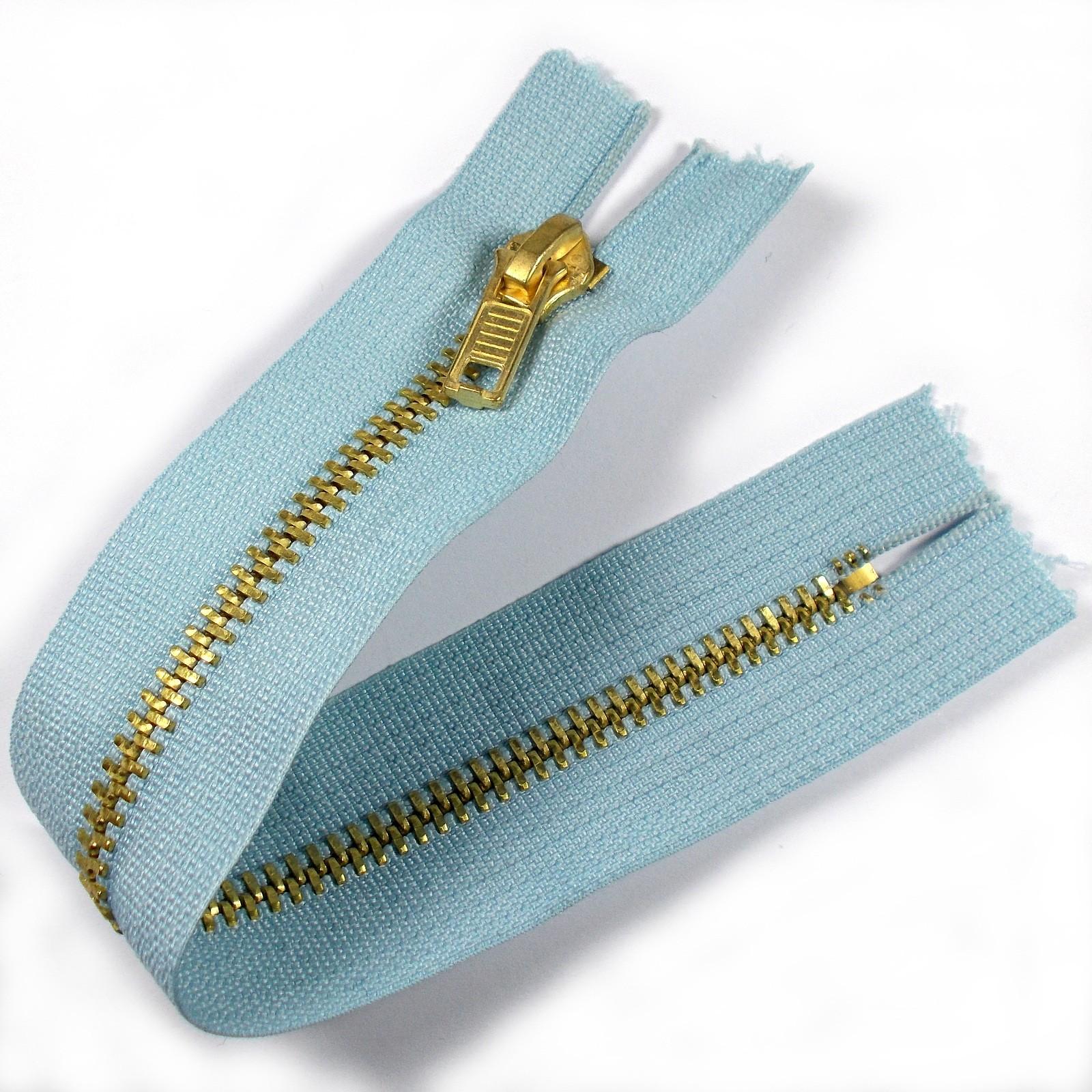 Gold Metal Trouser Jeans Zip Zipper 7 inch Light Blue