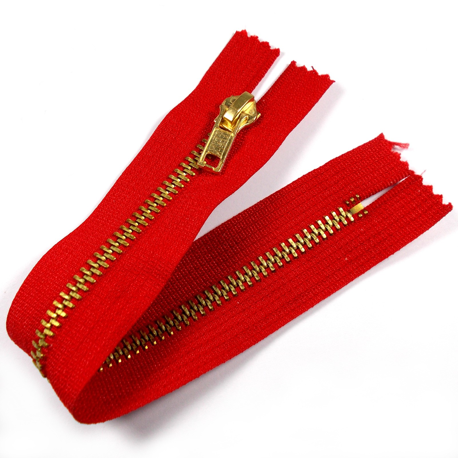 Gold Metal Trouser Jeans Zip Zipper 8 inch Red